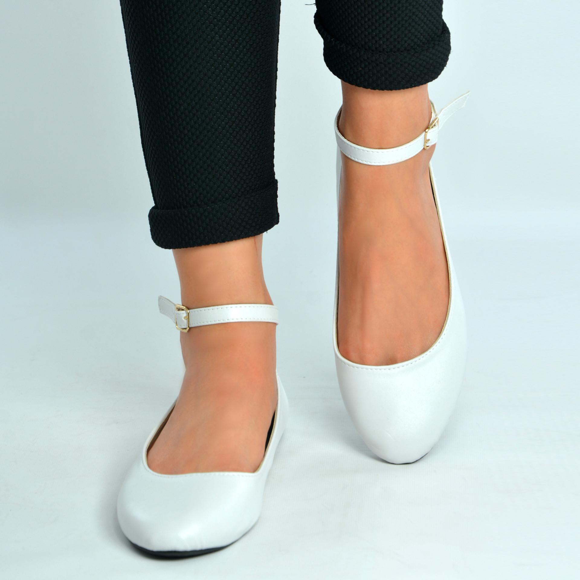 White Ankle Strap Ballerina Pumps