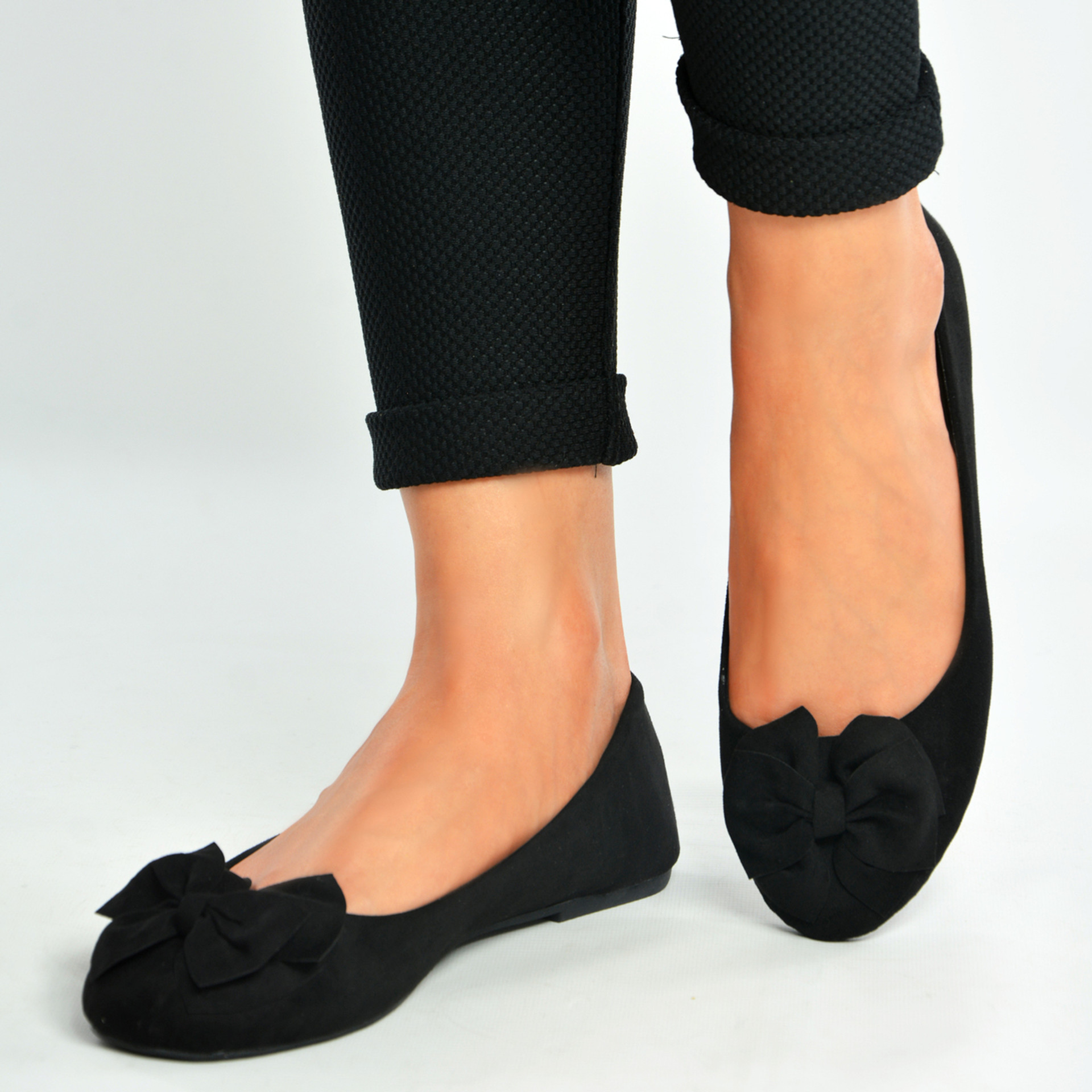 Black Bow Slip On Ballerinas