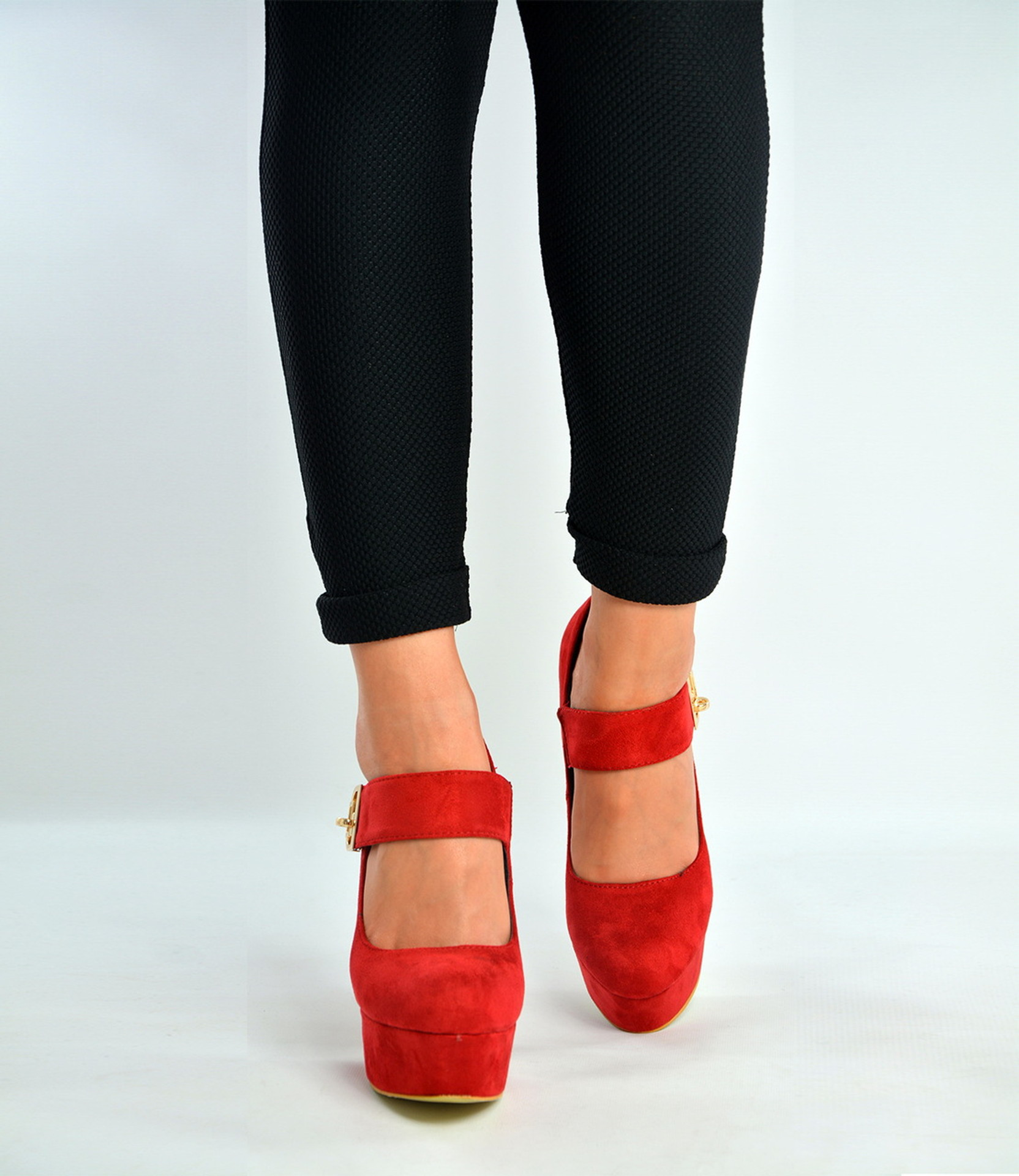 Red Ankle Strap High Block Heels Court Pumps