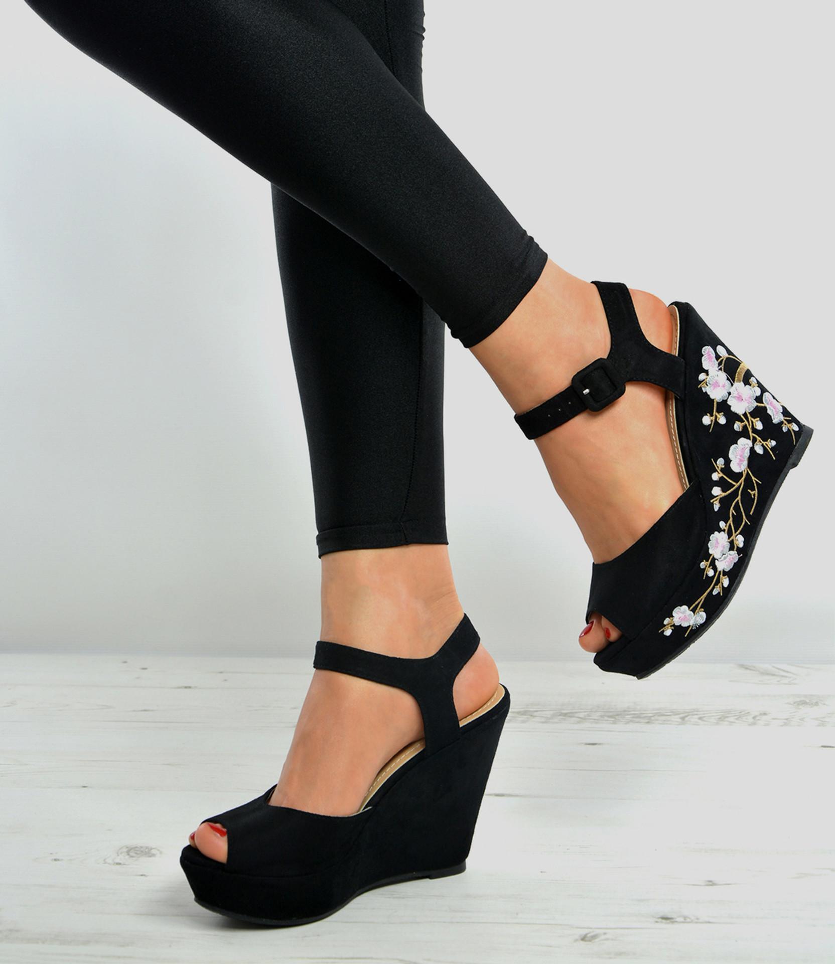 Black Platforms Floral Wedge Sandals