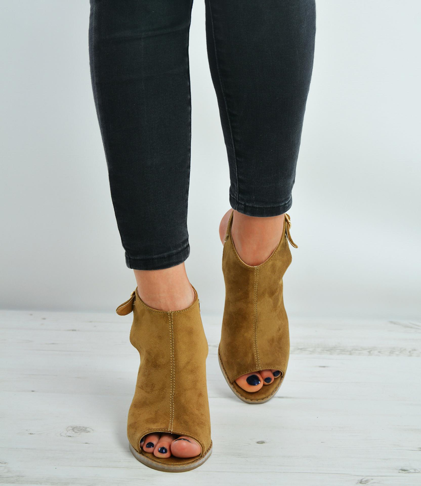 Camel Ankle Strap Wedge Sandals