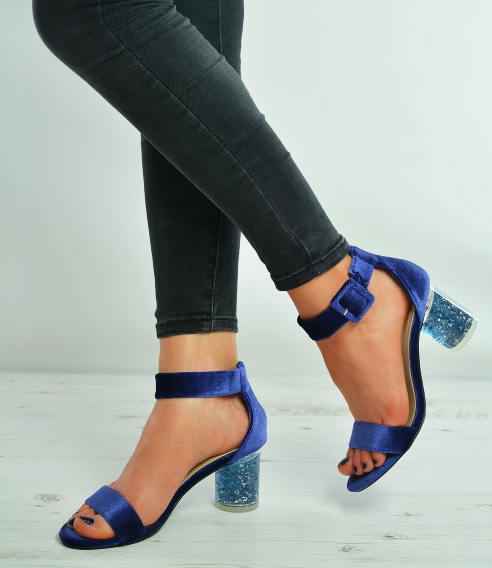 Blue Velvet Ankle Strap Block Stylish Heel Sandals