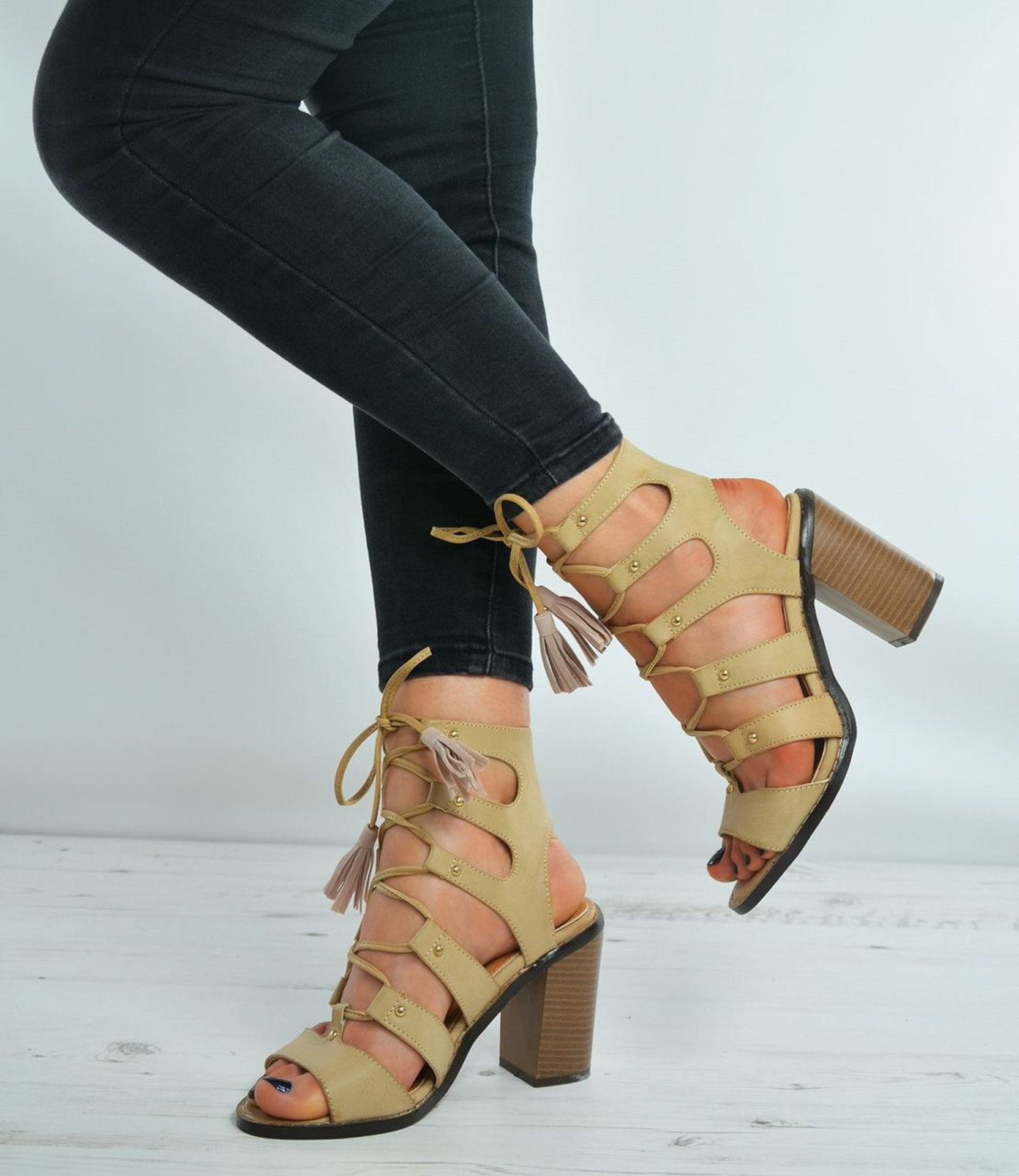 Christine Beige Gladiator Lace Up Sandals