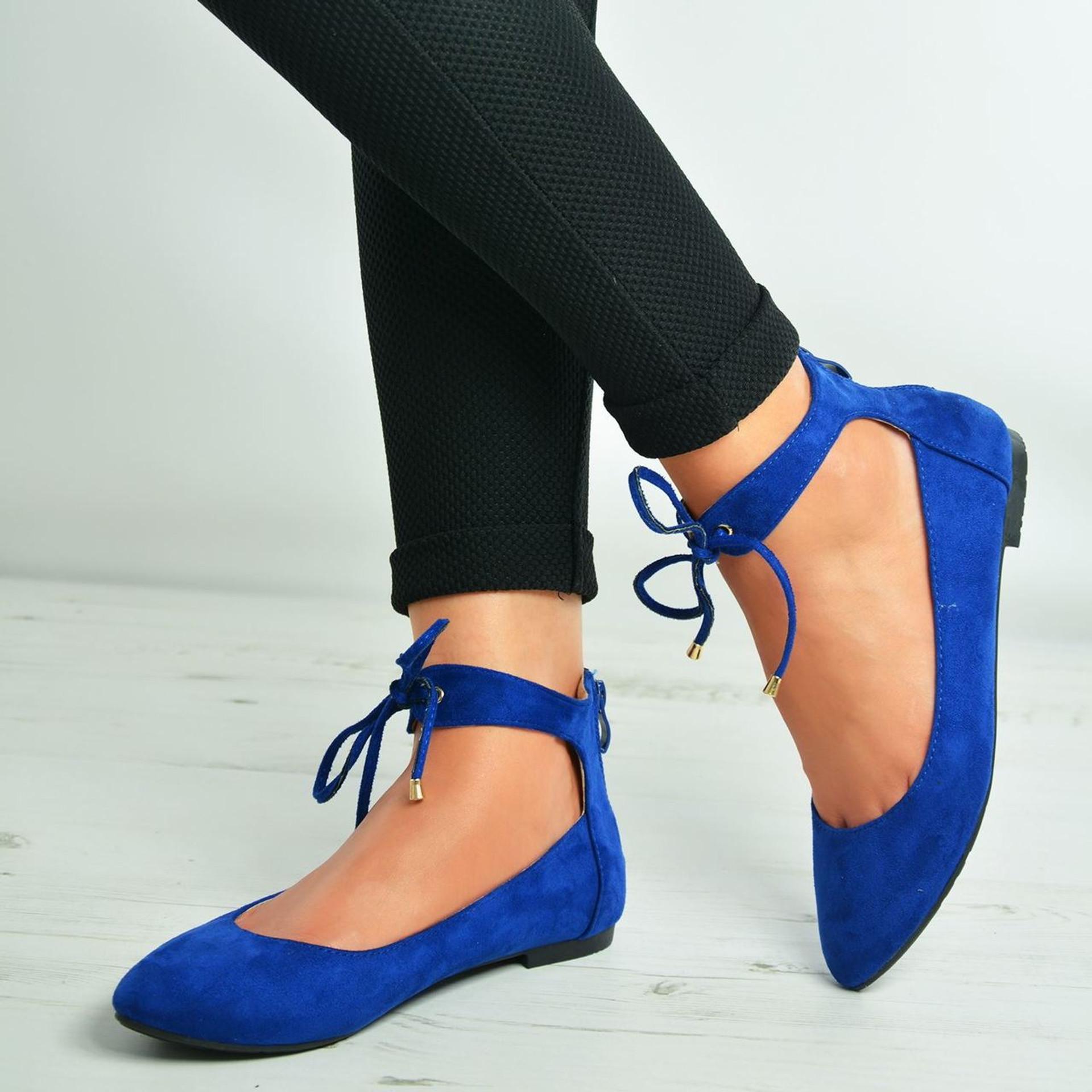 Larissa Blue Suede Back Zip Ankle Strap Ballerinas