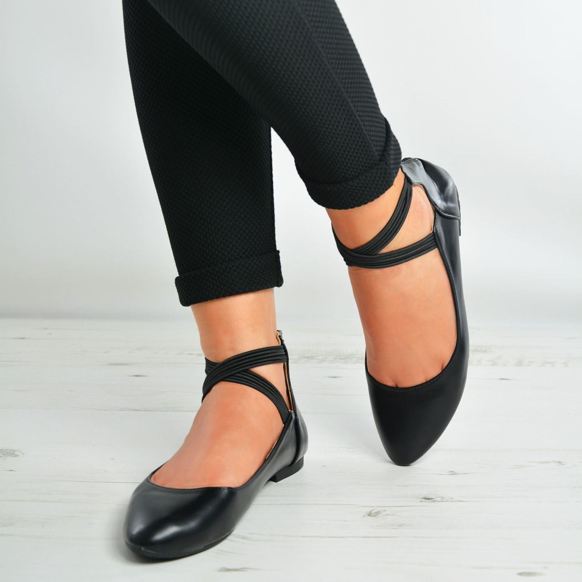 Kaylie Black Back Zip Ankle Strap Flat Ballerinas