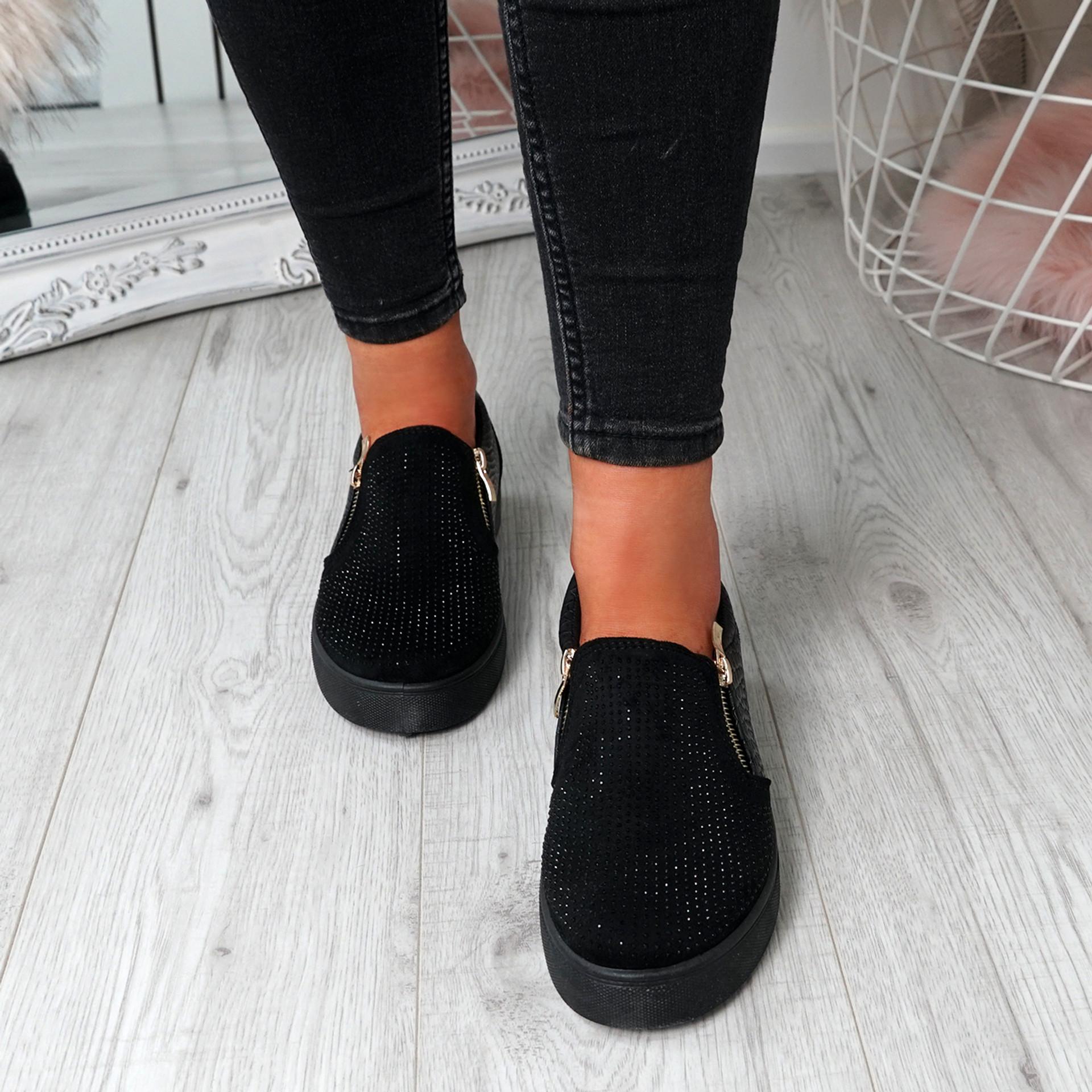 Scarlett Black Studded Slip On Trainers