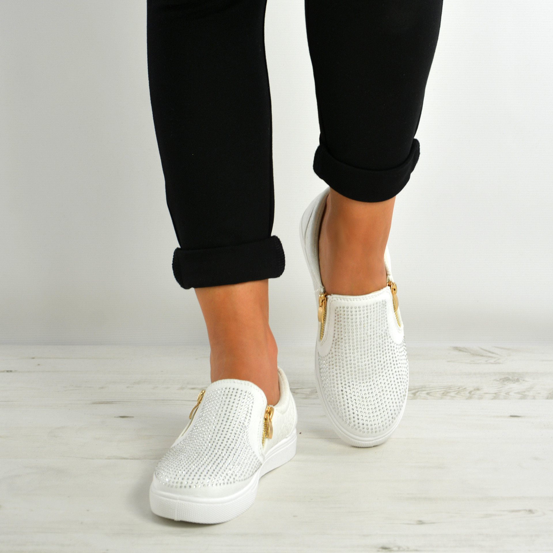 Scarlett White Studded Slip On Trainers