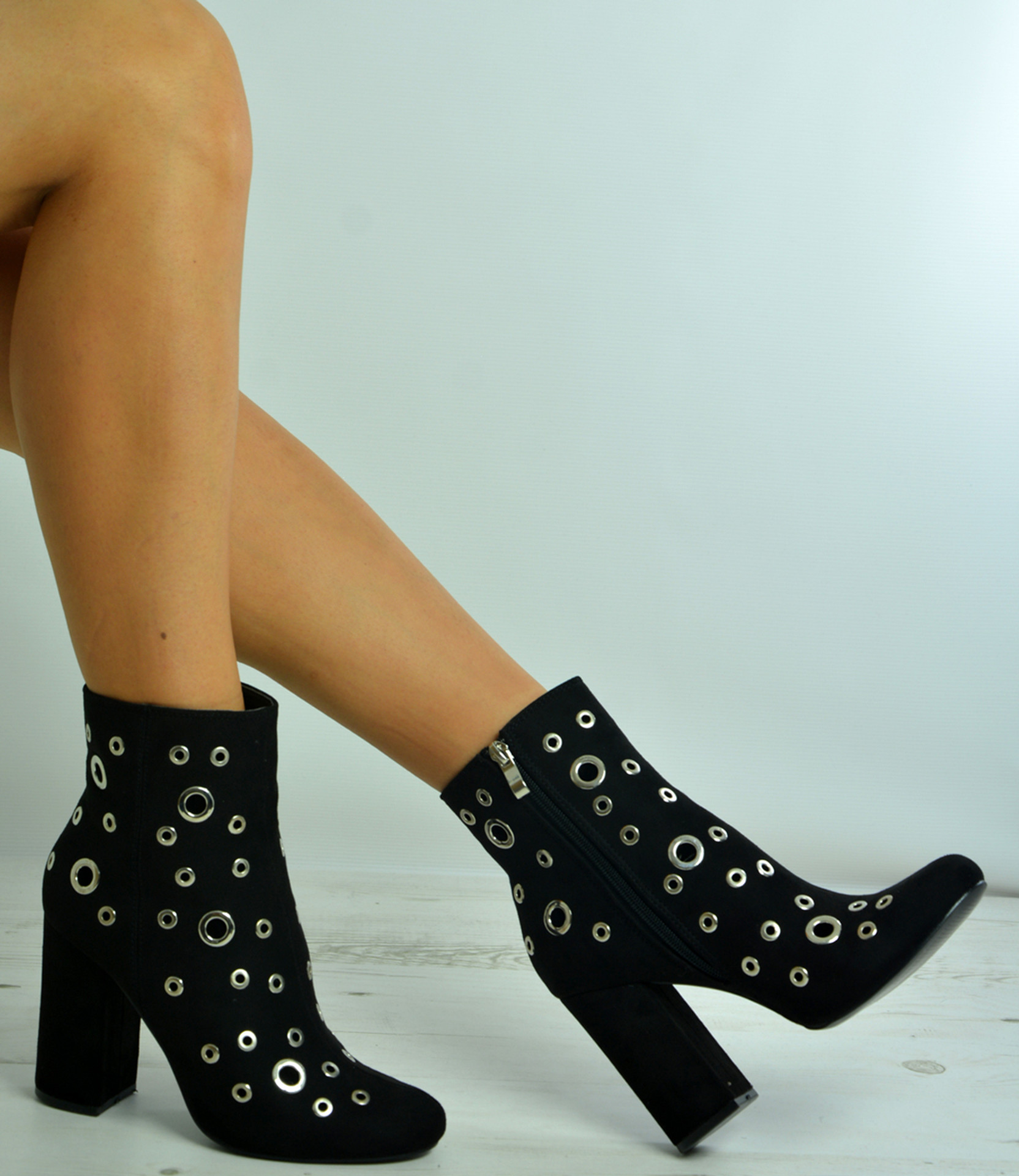 Deanna Black Gold Ring Ankle Boots