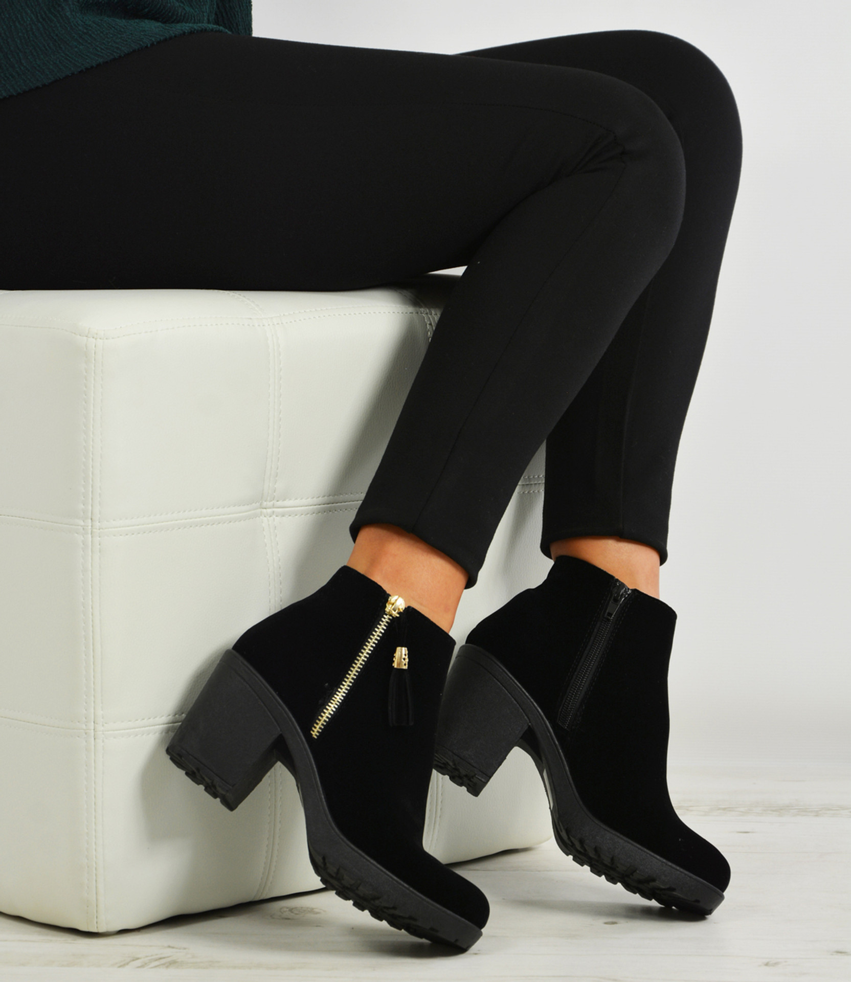 Irene Black Suede Side Zip Ankle Boots