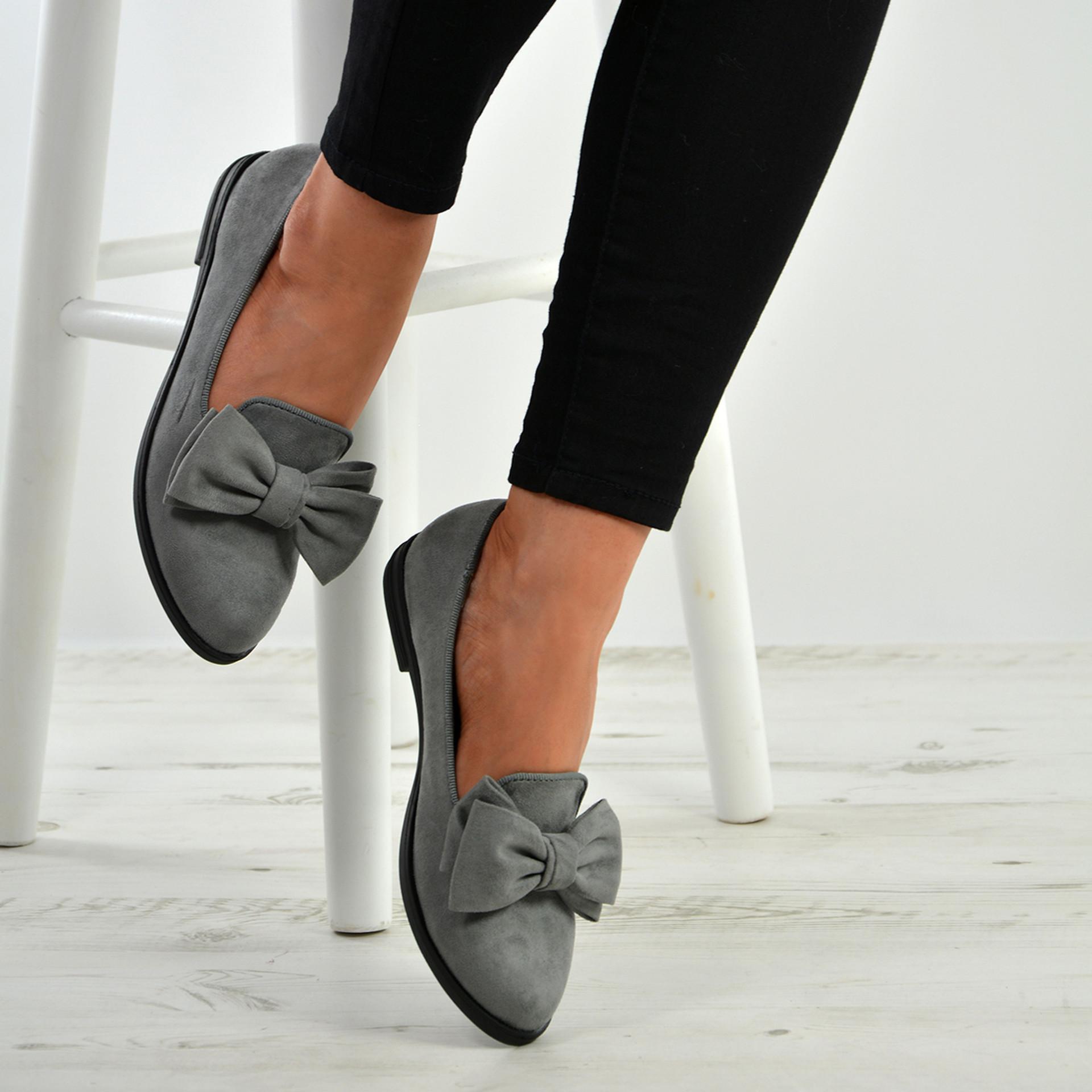 Josie Grey Bow Slip On Ballerinas