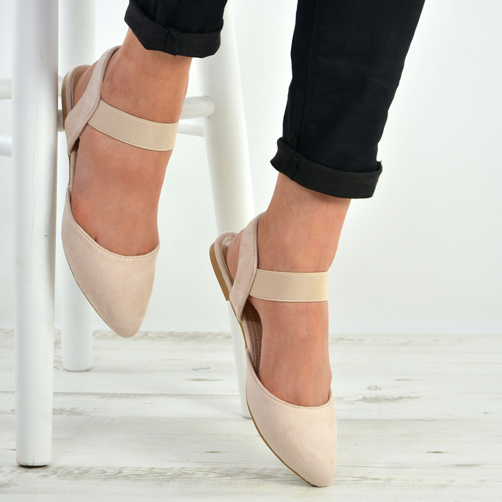 Kristine Beige Flat Pointy Ballerinas