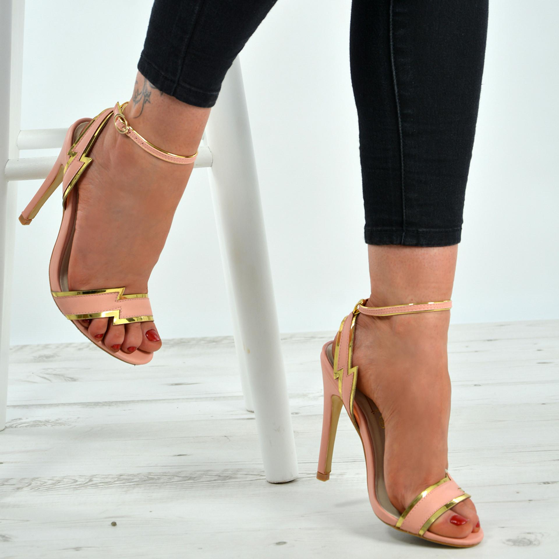 Haven Gold Trim Pink Stiletto Sandals