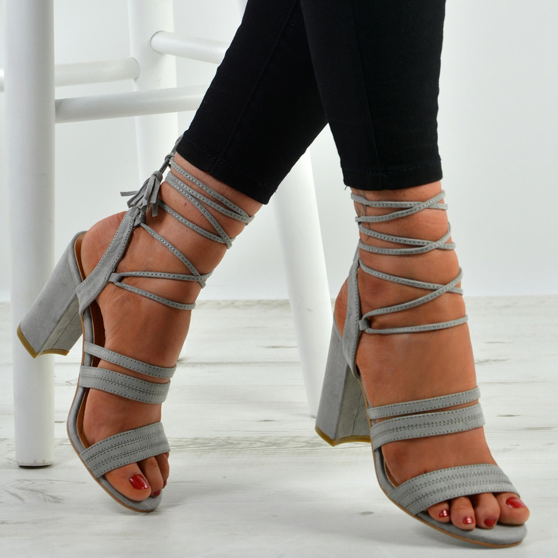Brielle Grey Block Heel Sandals