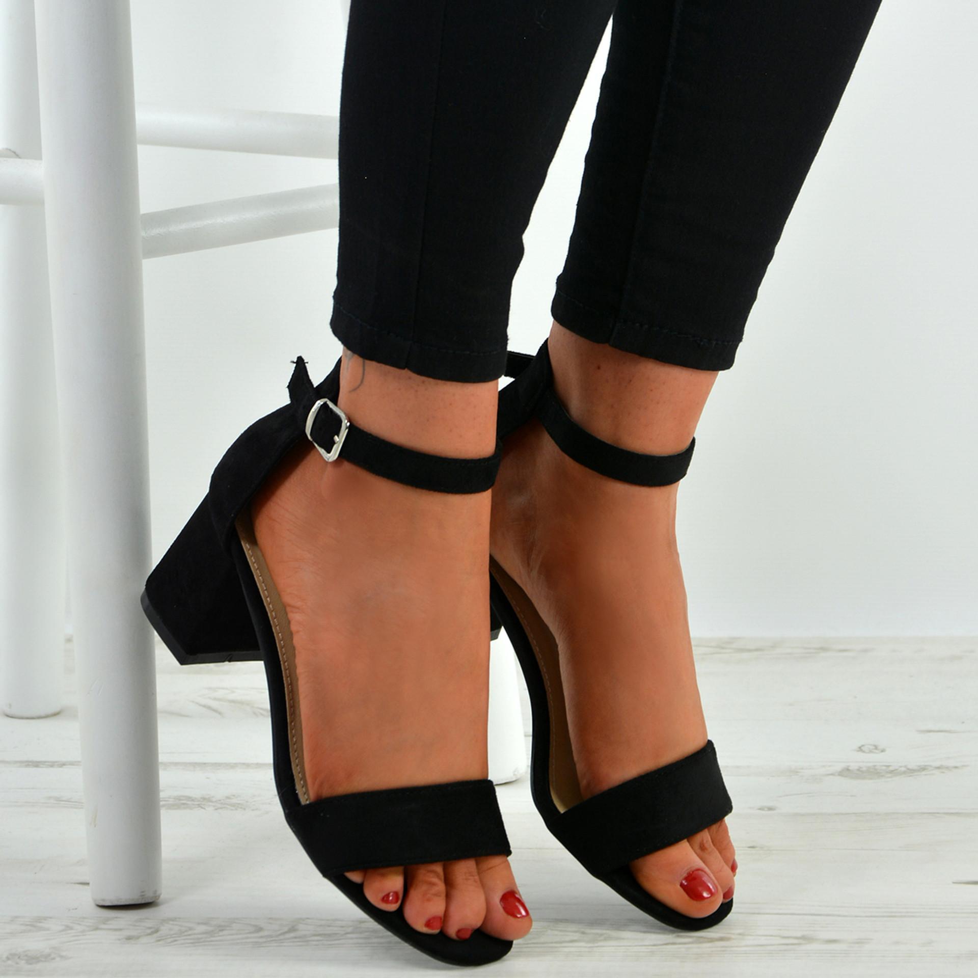 Selena Black Mid Heel Sandals