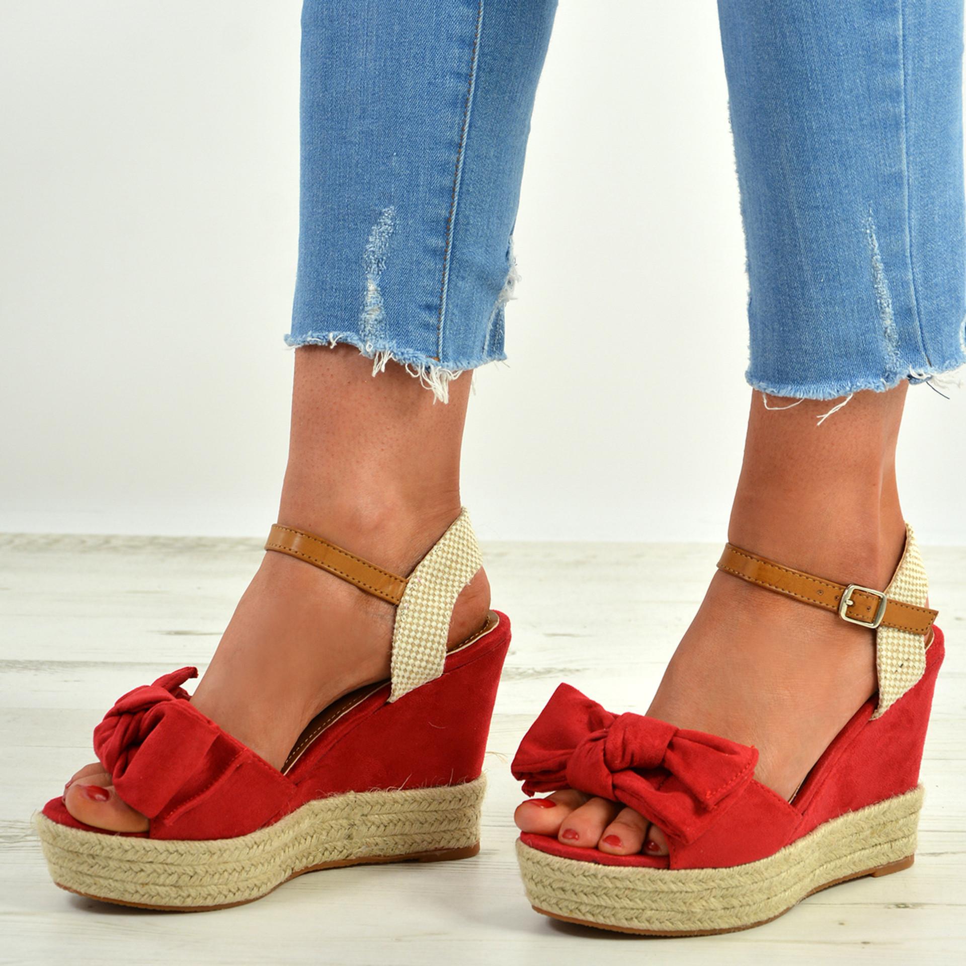 Tatum Red Wedge Platform Sandals