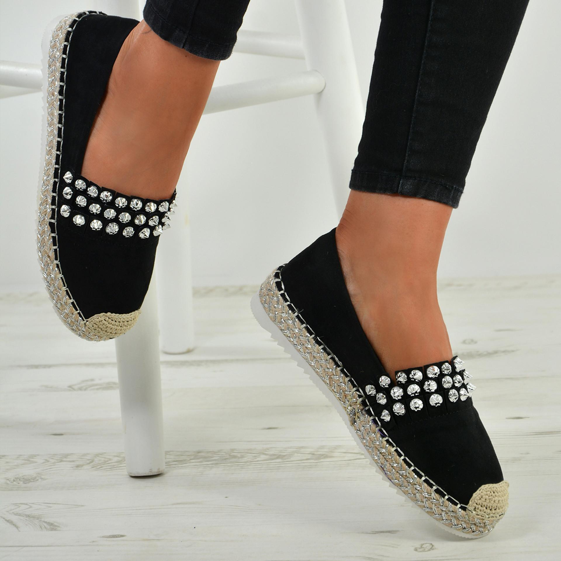 Cadence Black Diamante Flats
