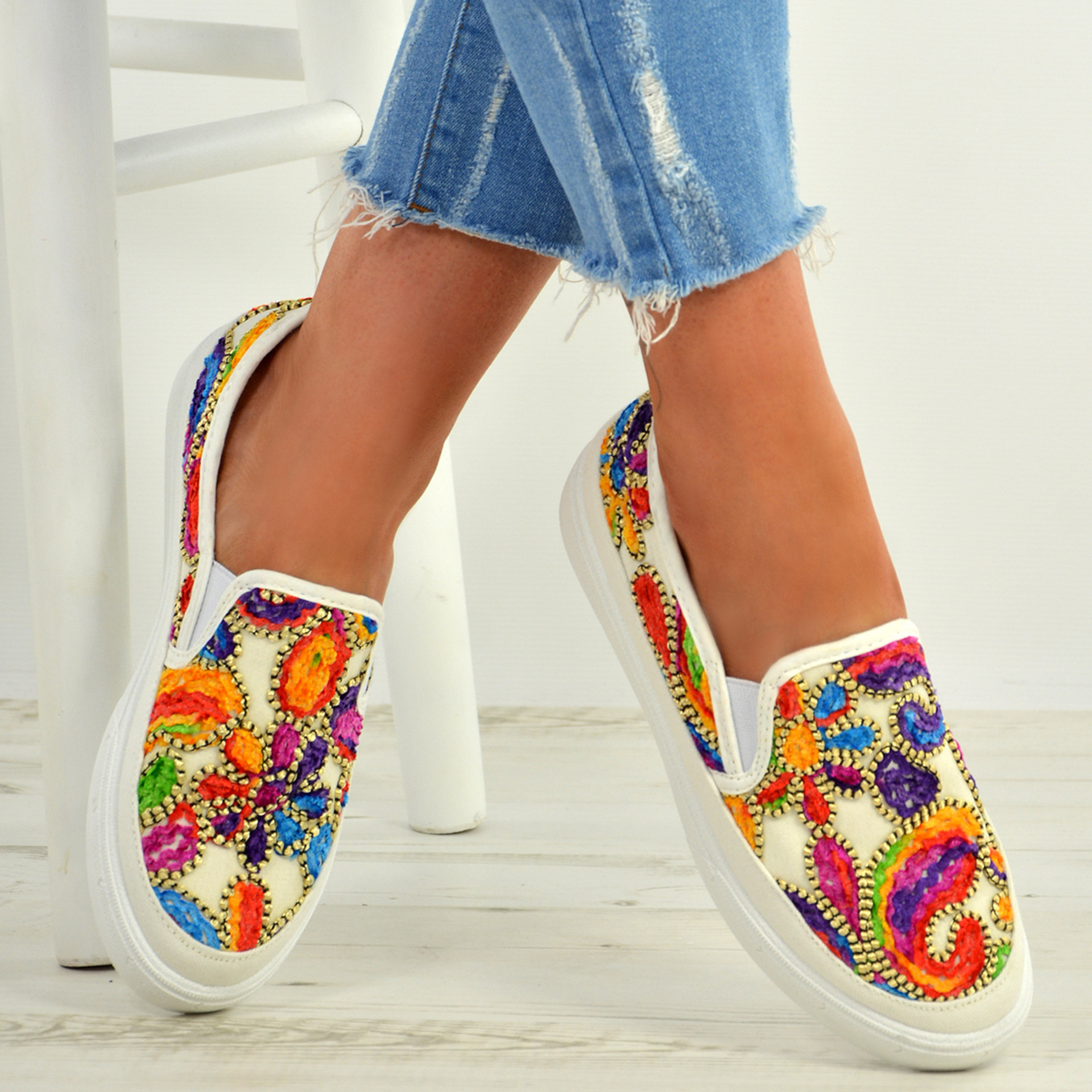 June White Embroidered Trainers