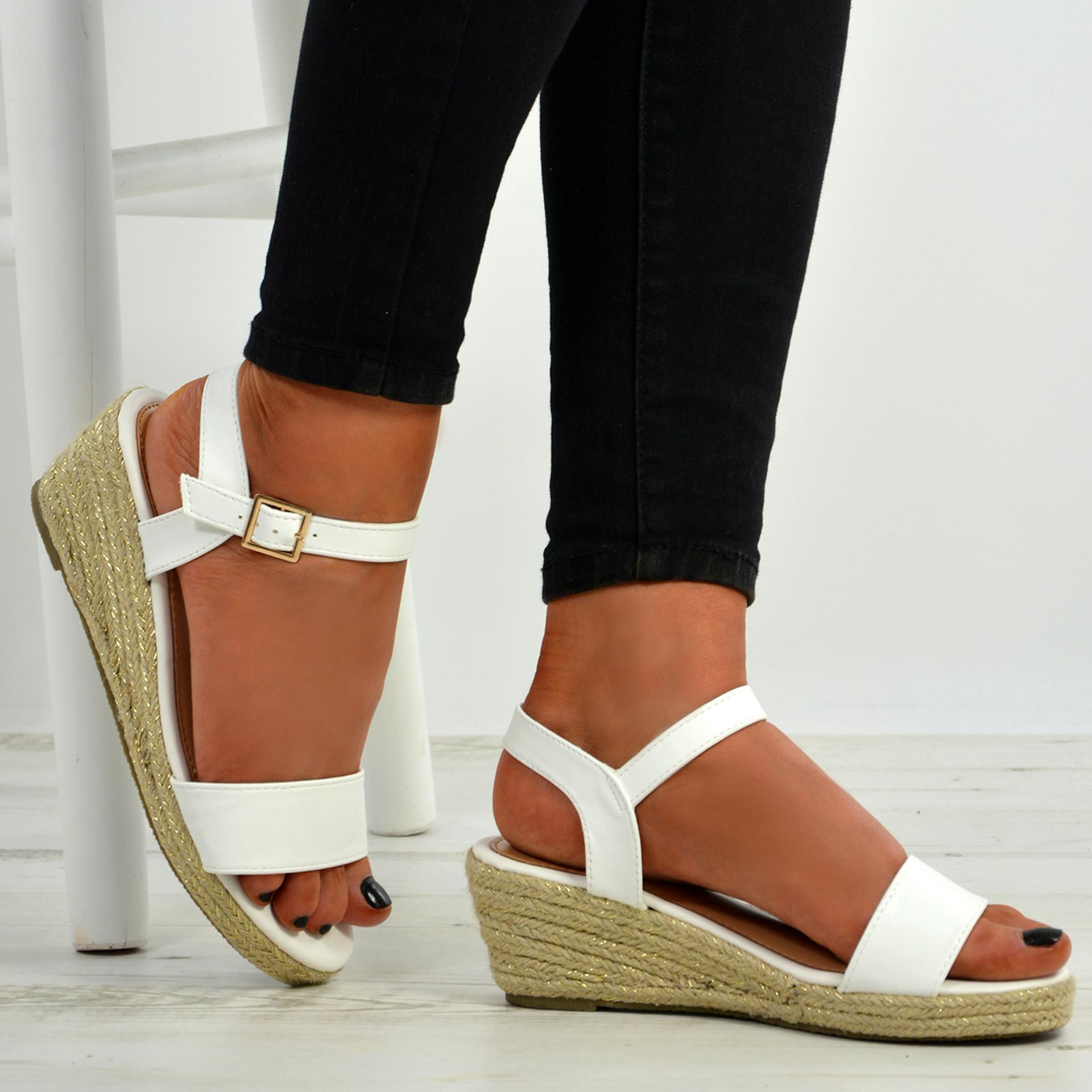 Brisa White Espadrille Wedge Sandals