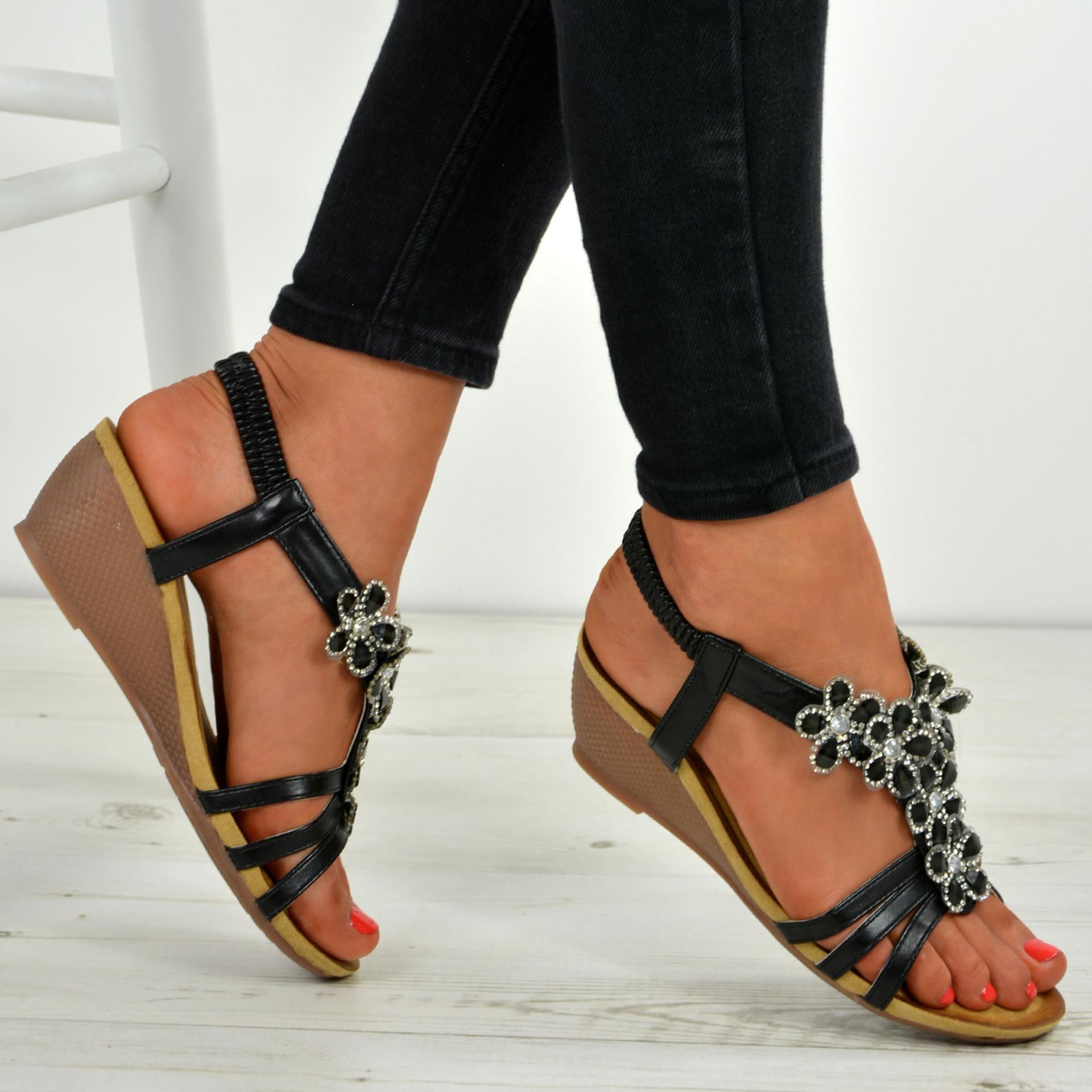 Janelle Flower T Strap Black Sandals