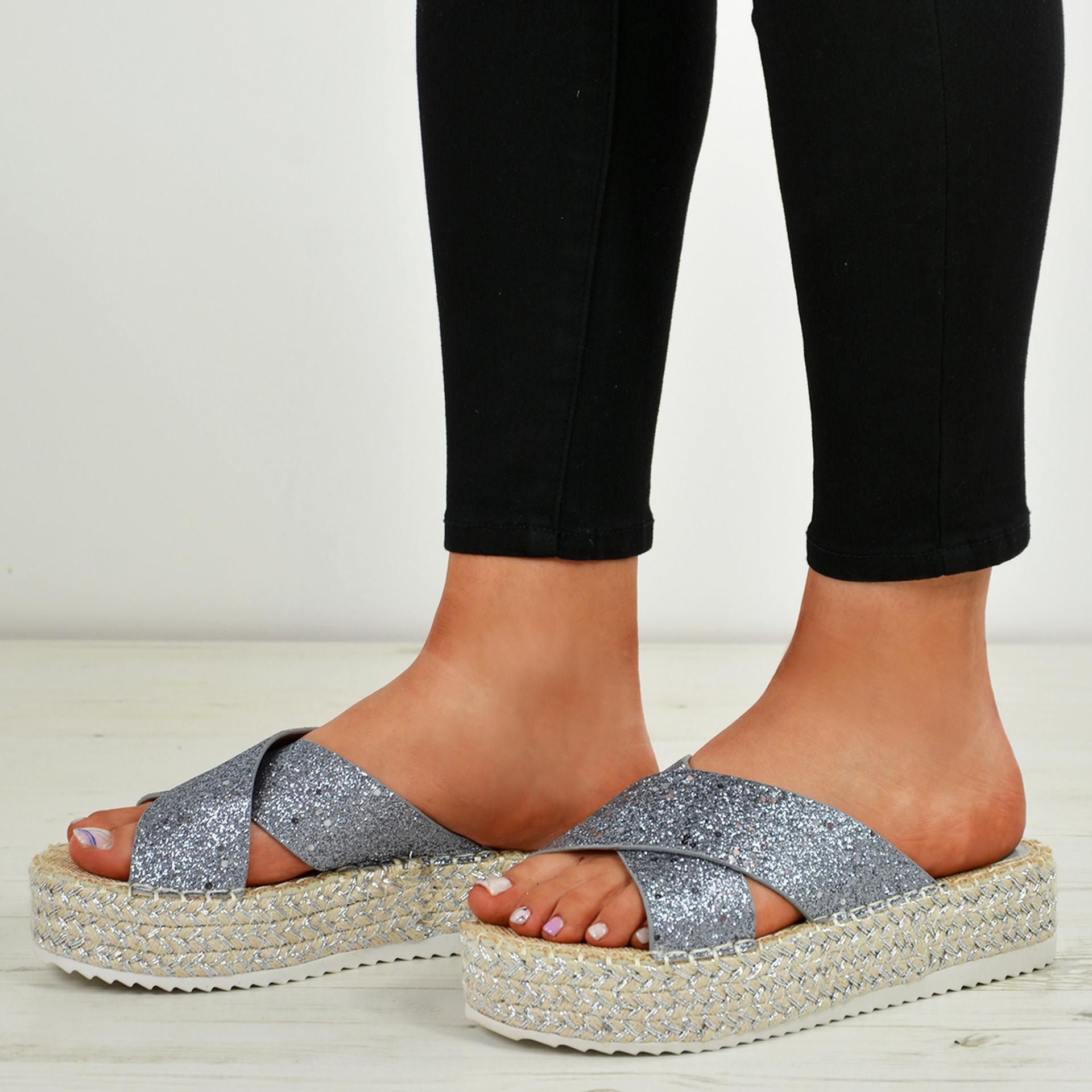 Kassia Grey Glitter Flatforms