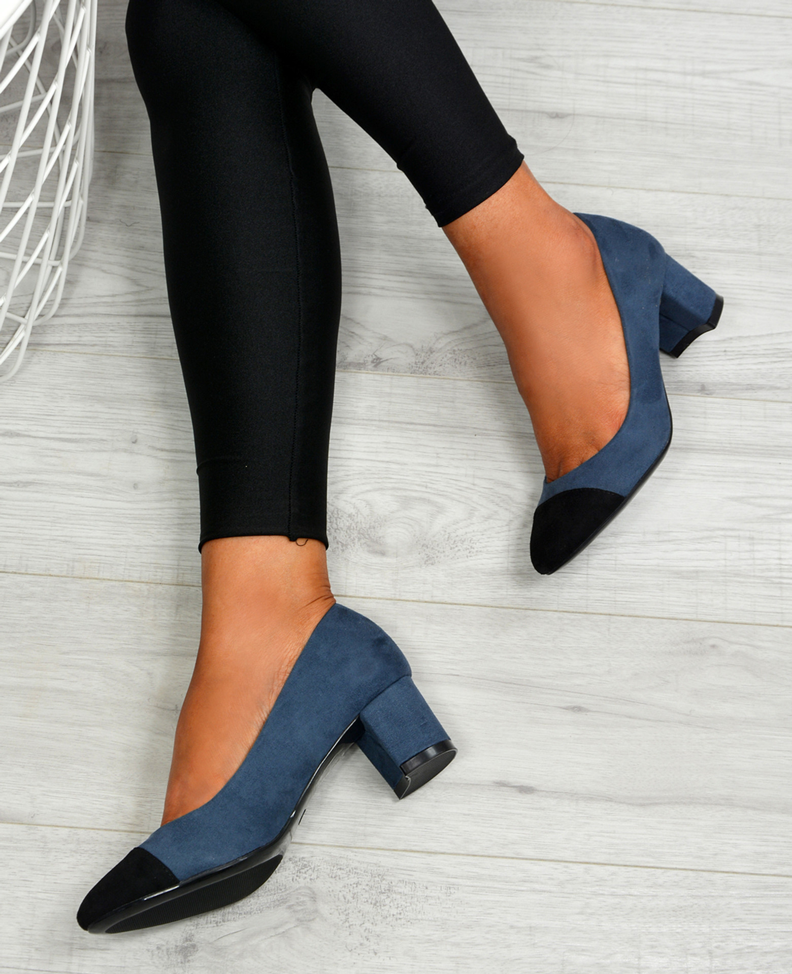 Aracely Blue Block Heel Pumps