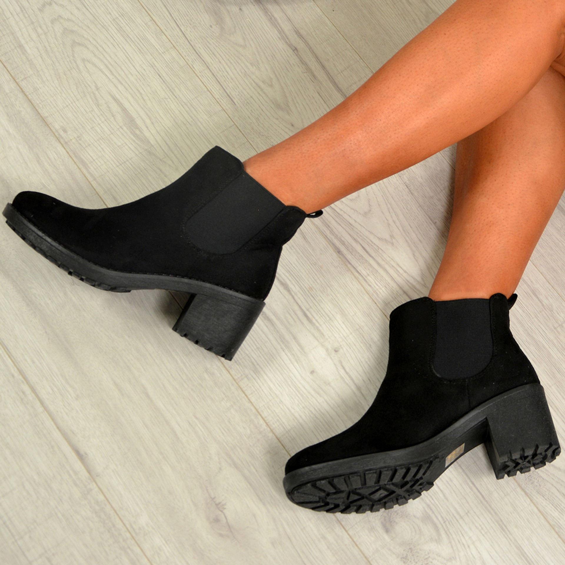 Tiffany Black Suede Chelsea Boots