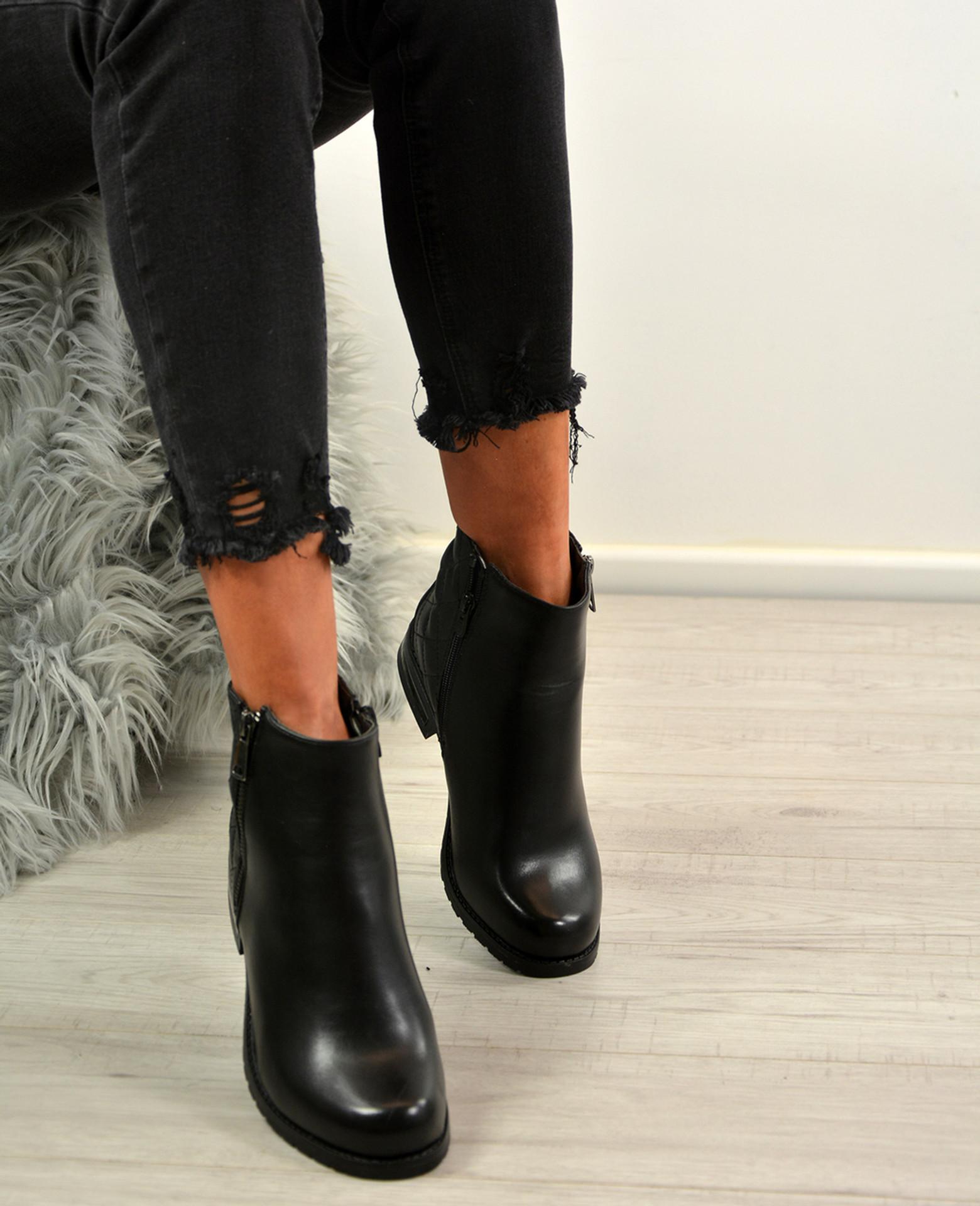 Cassandra Black Metallic Trim Ankle Boots