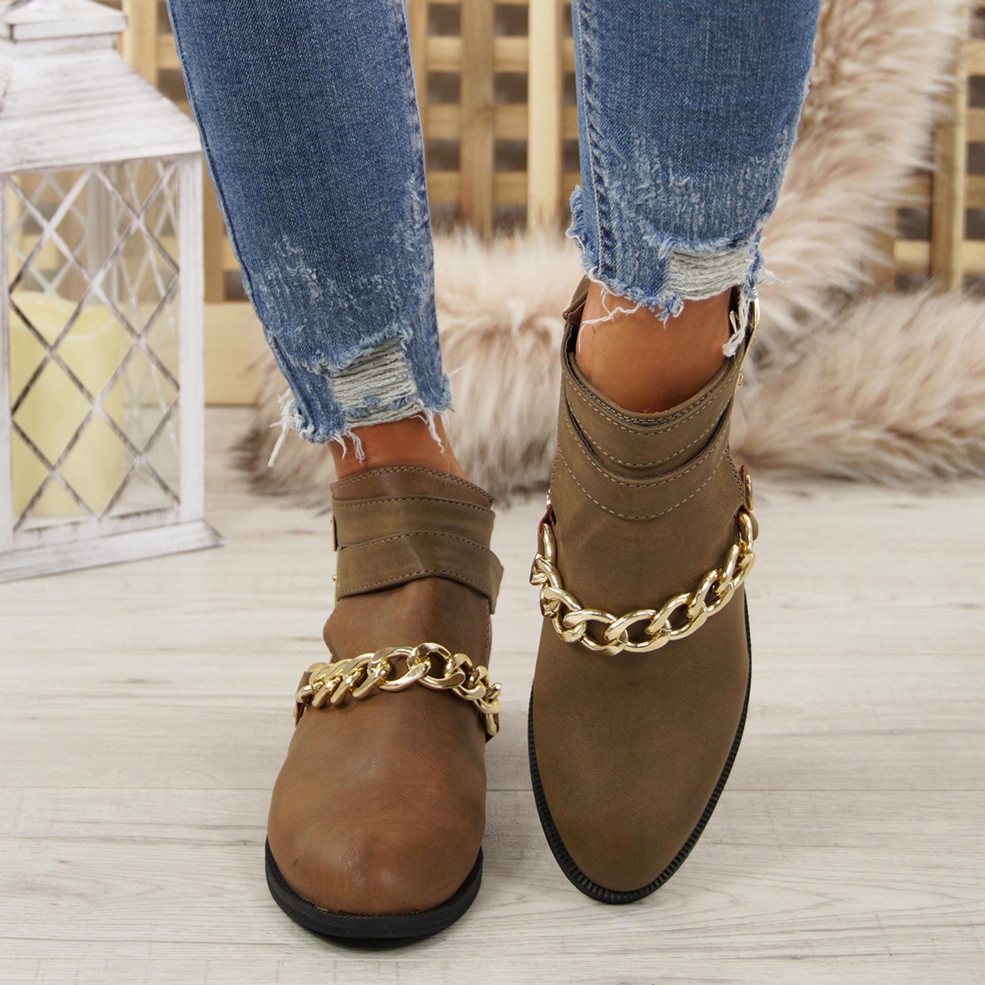 Nita Khaki Chain Ankle Boots