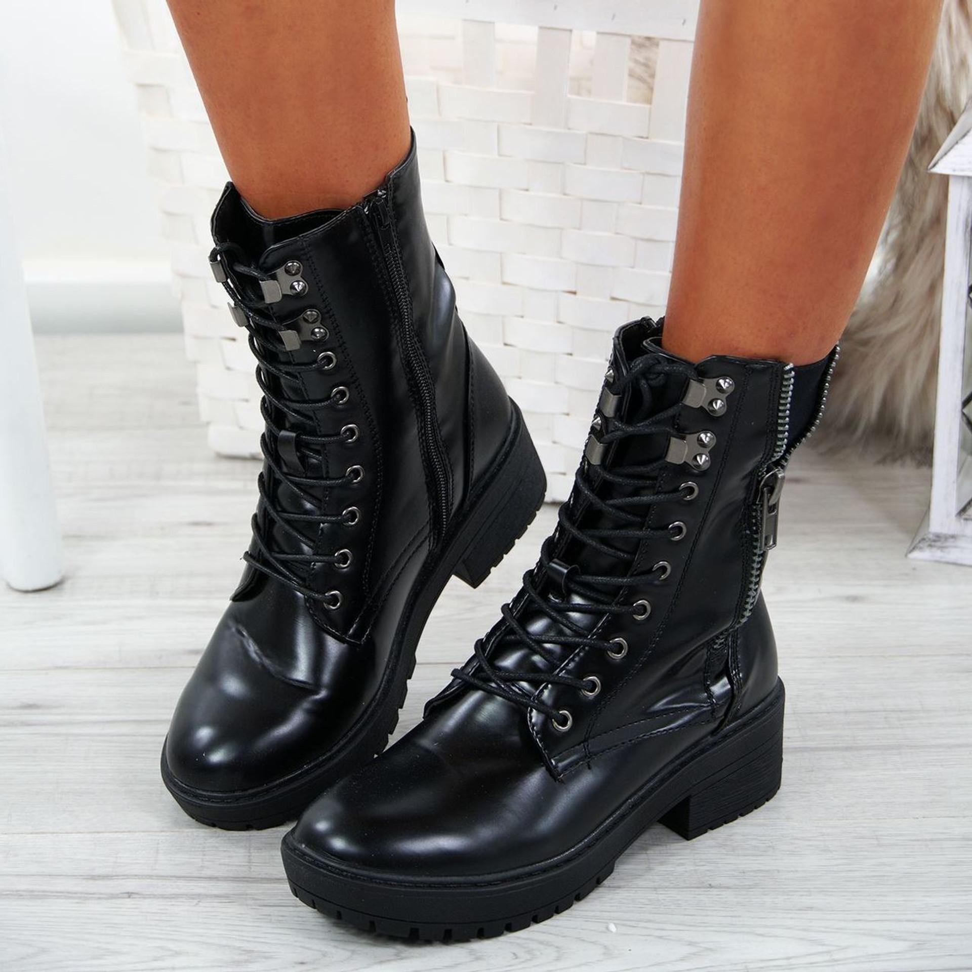 Ciarra Black Biker Ankle Boots