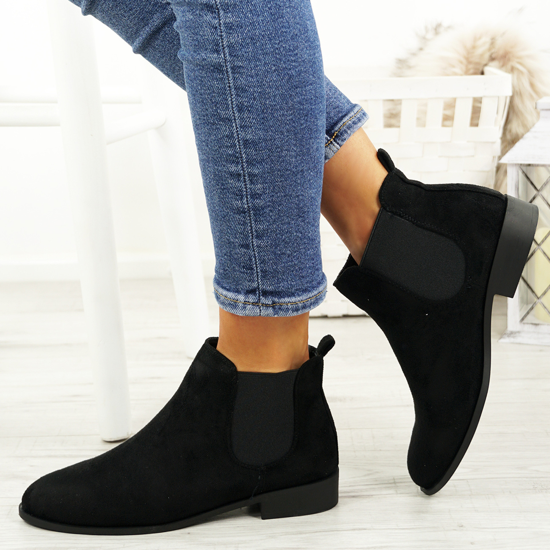 Ronna Black Suede Chelsea Ankle Boots