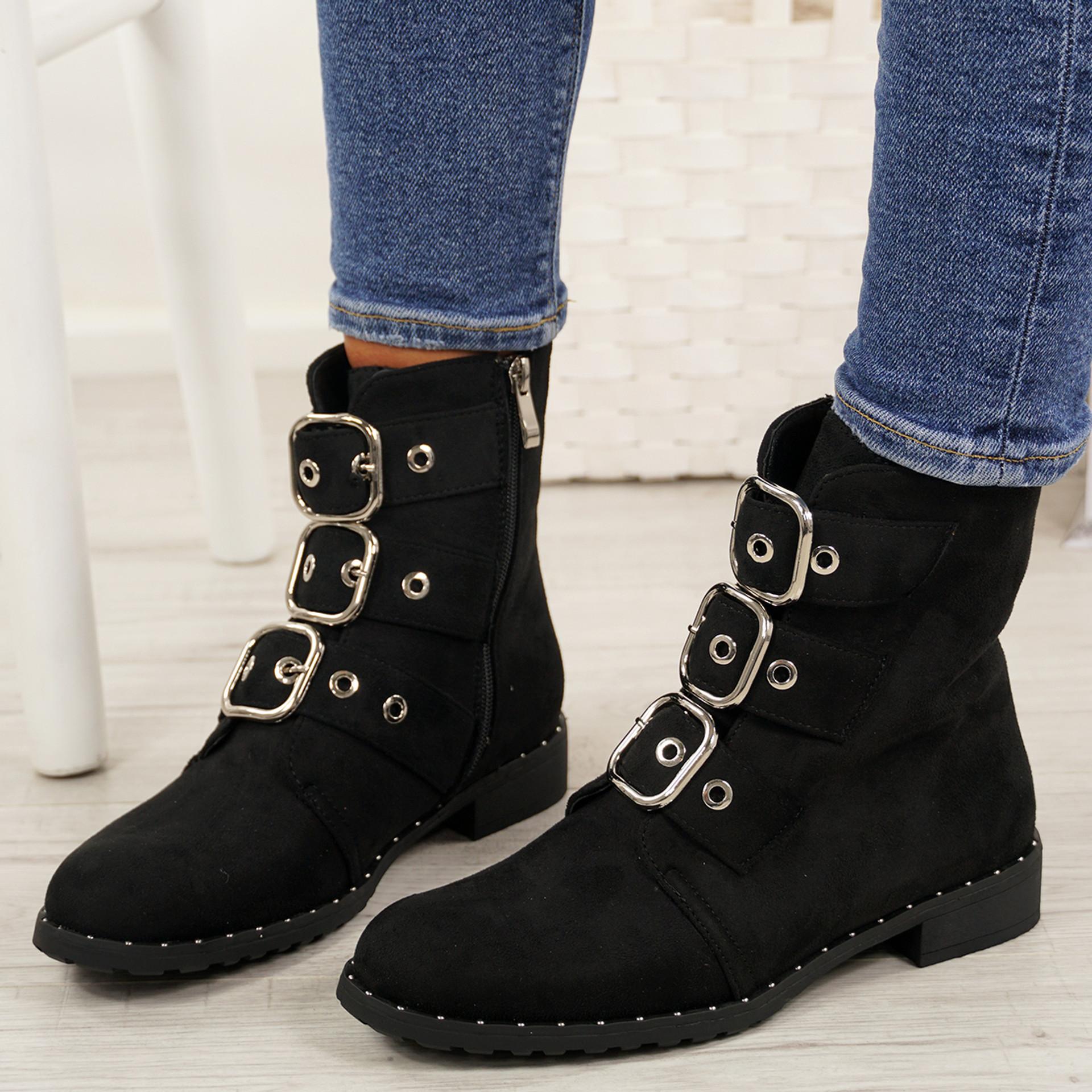Leyga Black Suede Biker Ankle Boots