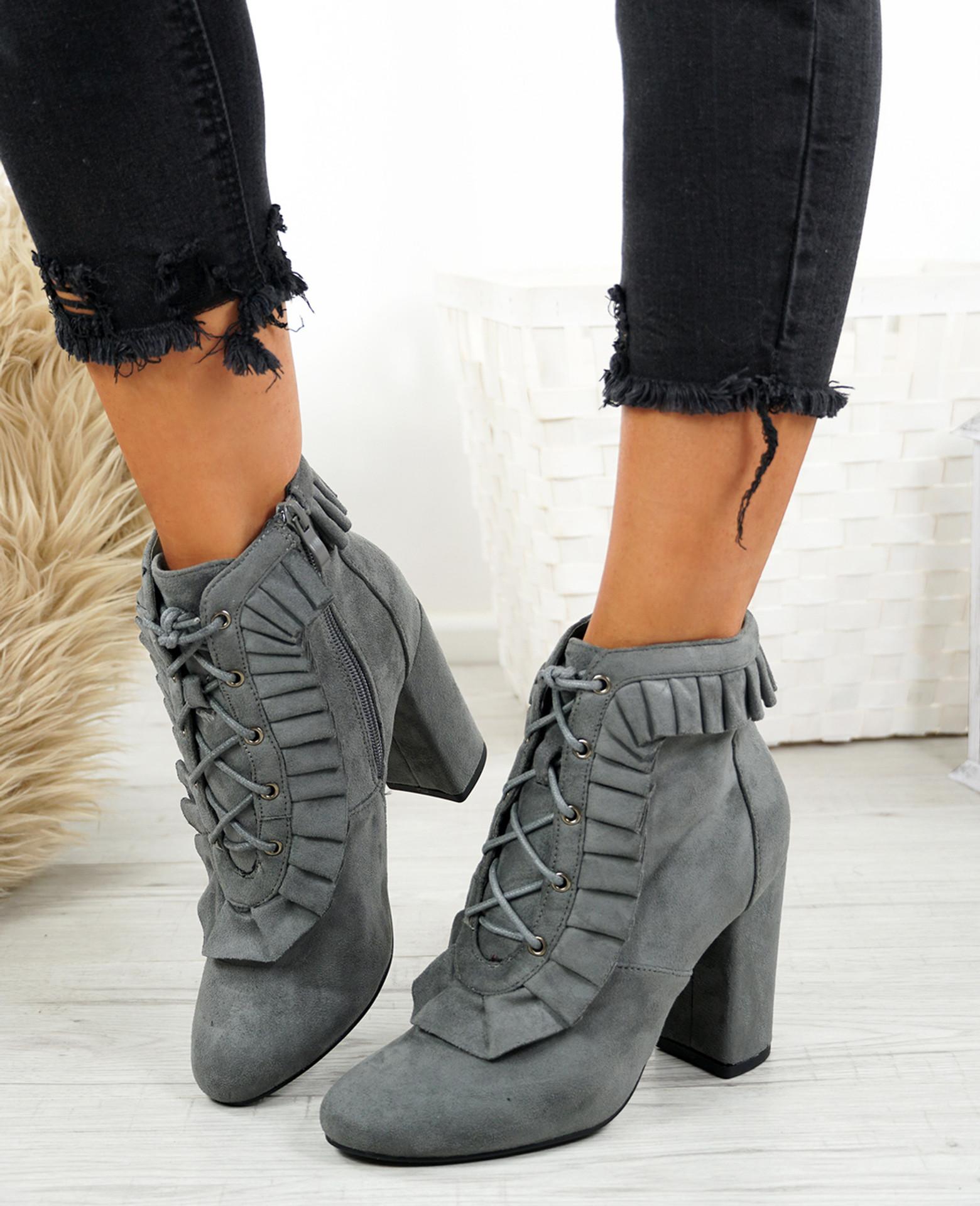 Nangi Grey Ruffle Ankle Boots