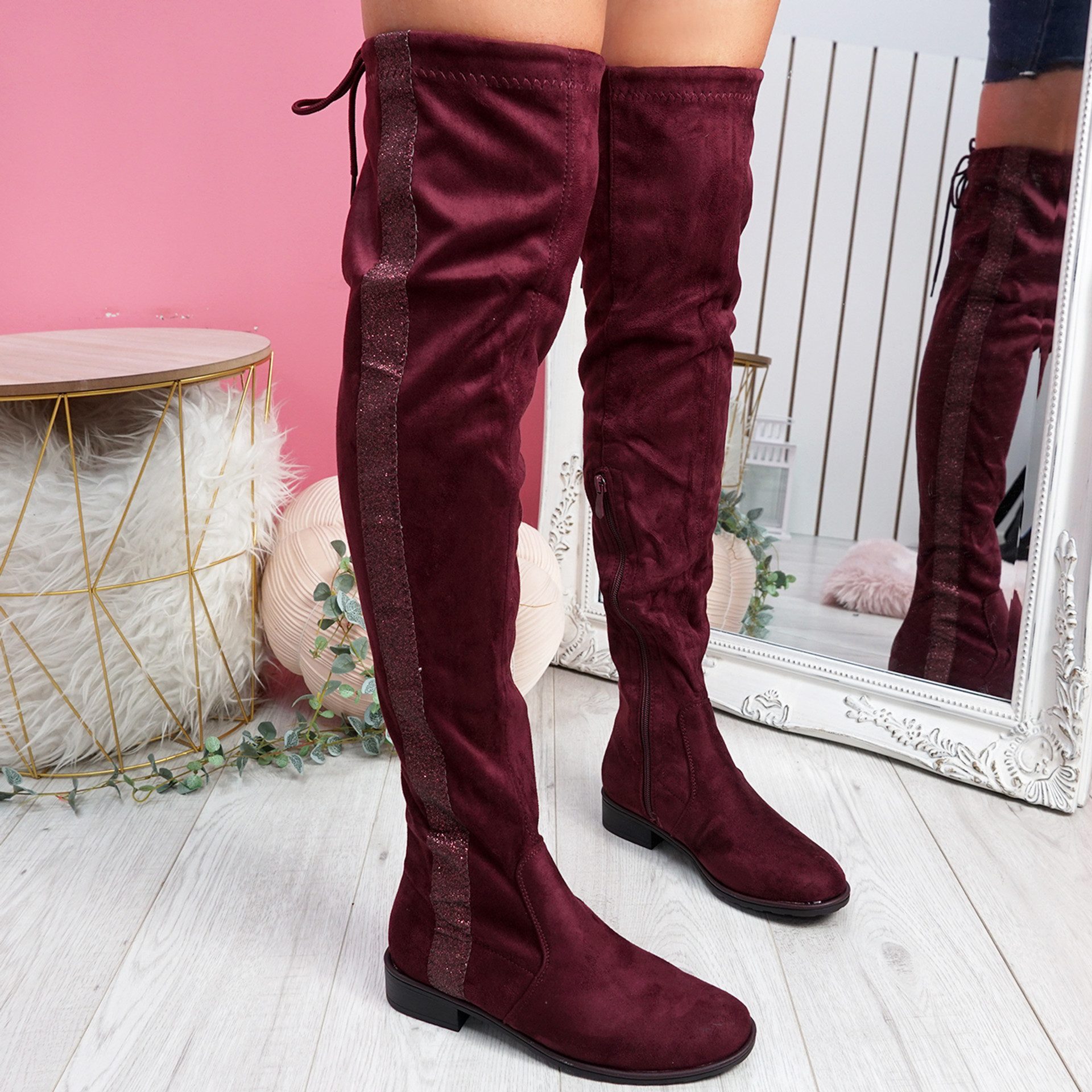 Mila Wine Glitter Otk Boots