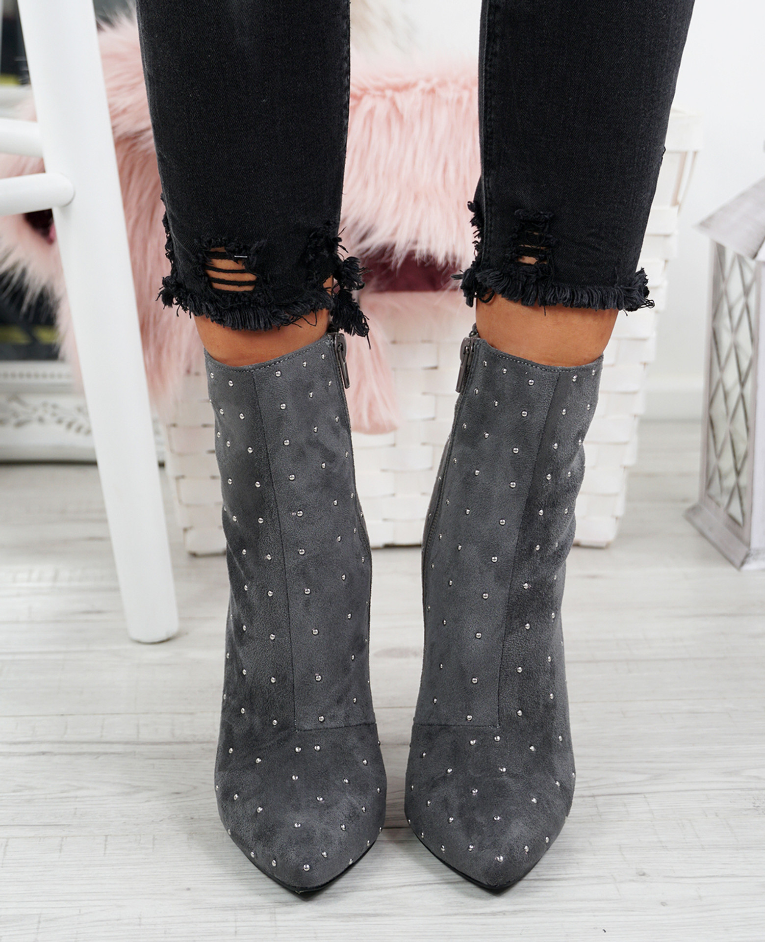 Amillie Grey Studded Ankle Boots