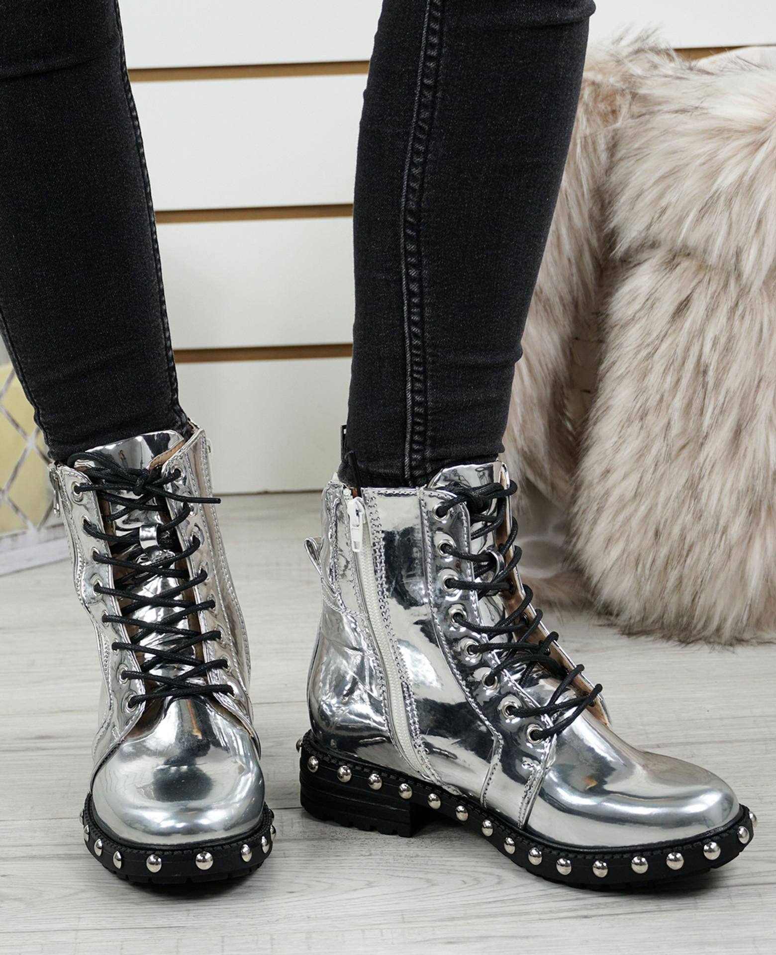 Clara Silver Biker Ankle Boots