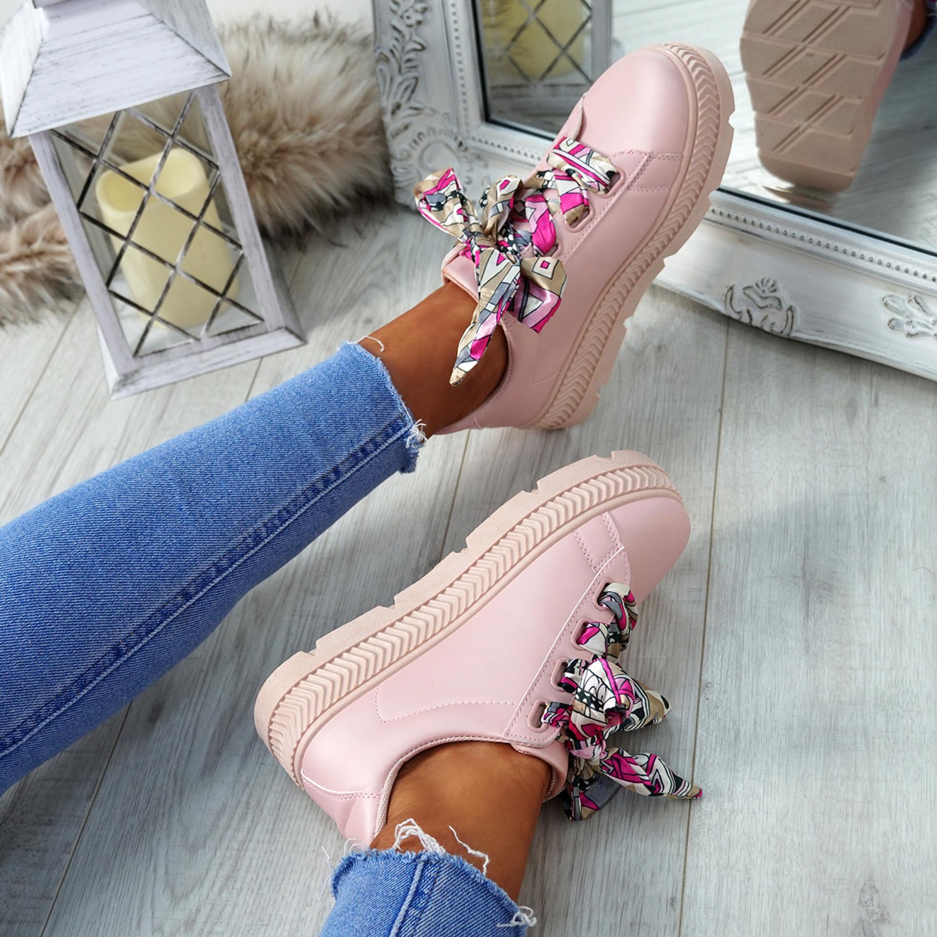 Brenda Pink Ribbon Plimsolls