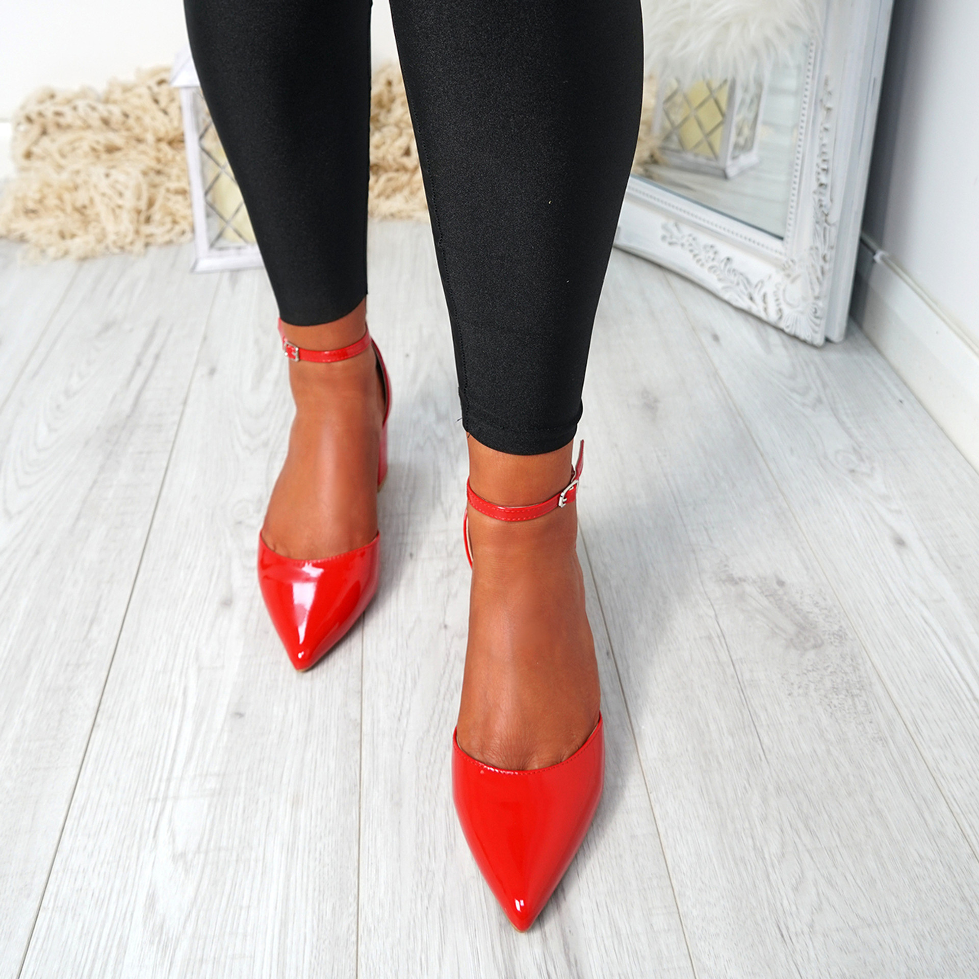 Canna Red Ankle Strap Pumps
