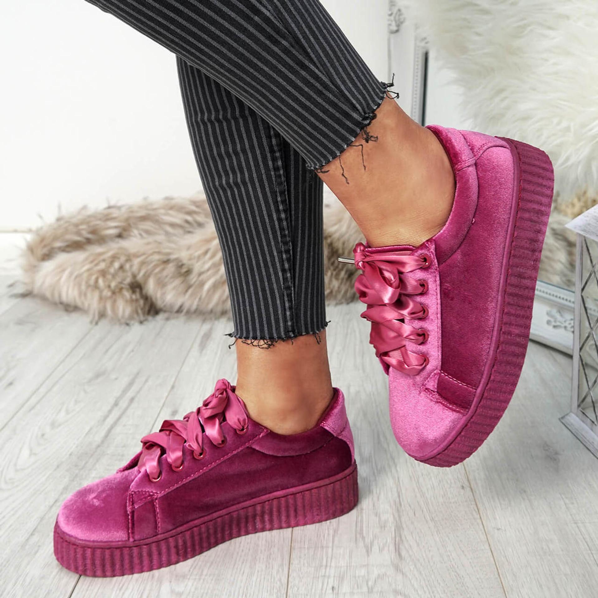 Pika Pink Purple Velvet Trainers