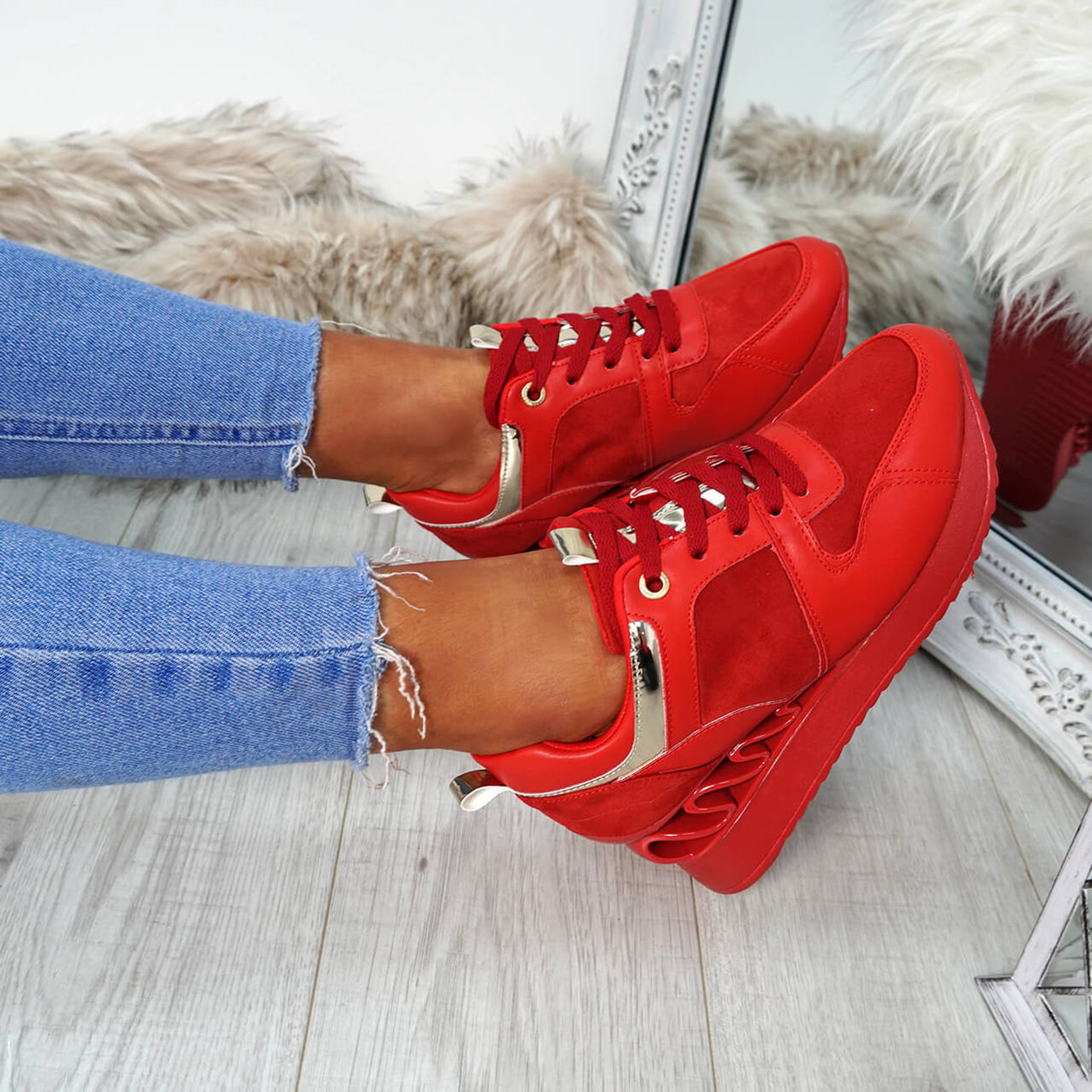 Nagna Red Wedge Trainers