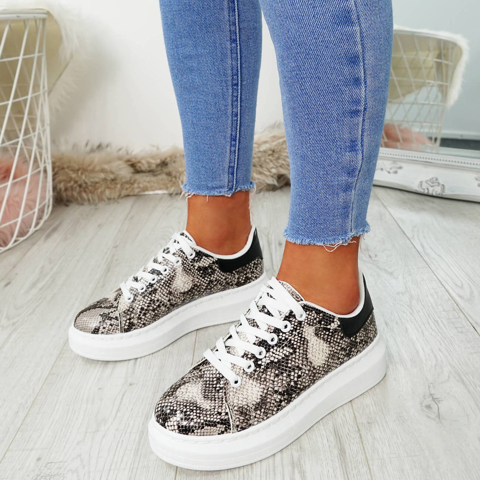 Picma Snake Lace Up Trainers