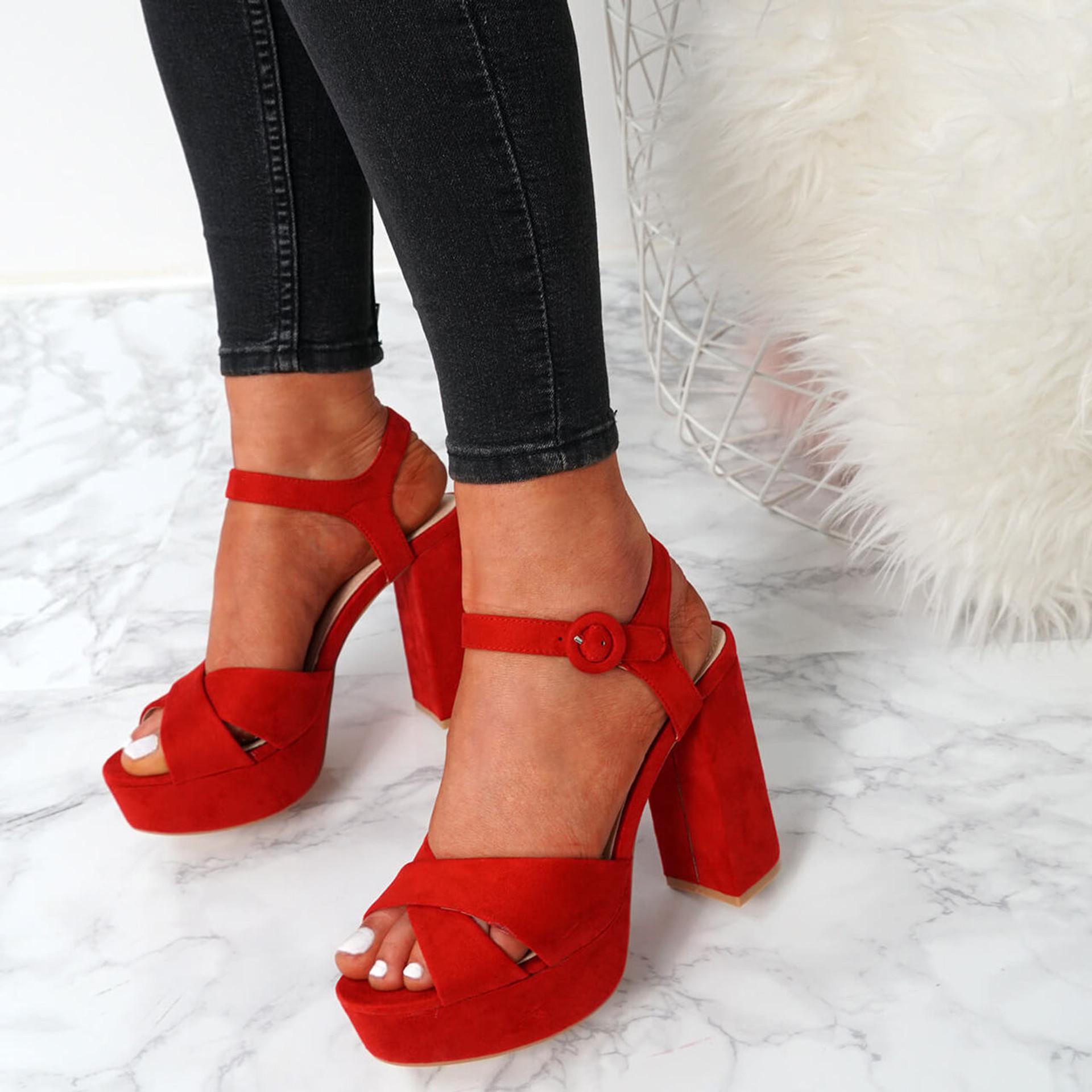 Tino Red Block Heel Sandals