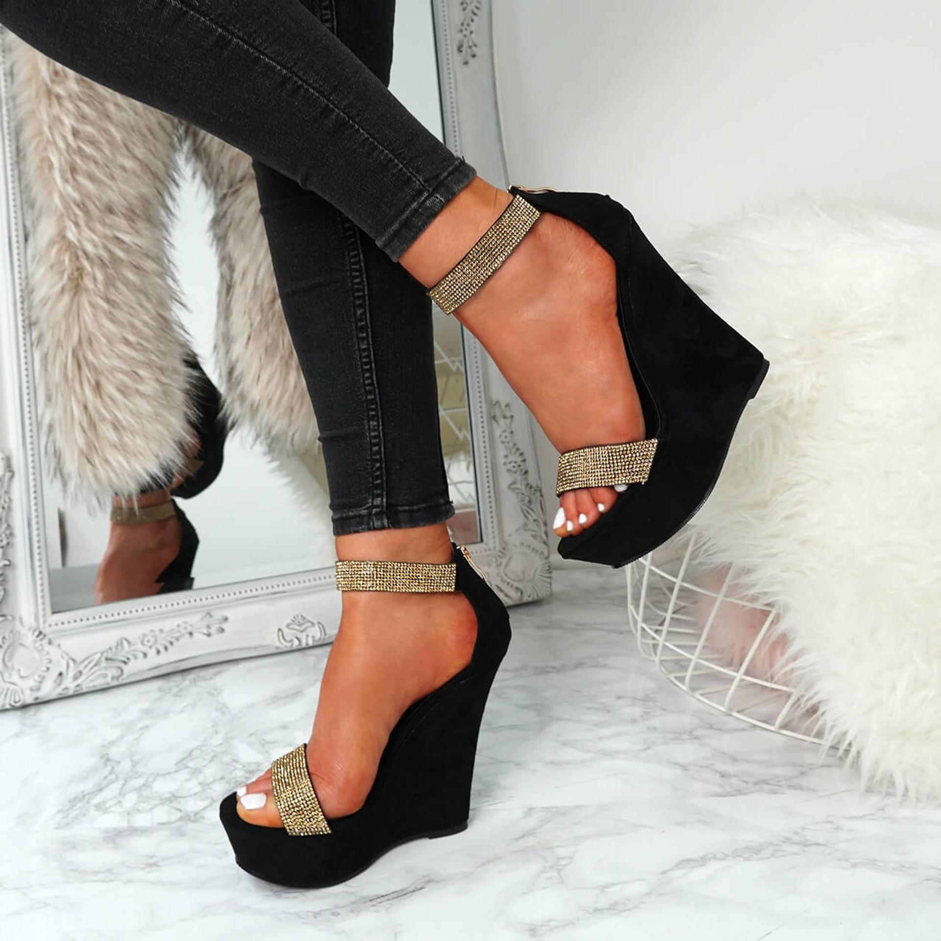 Klana Black Diamante Studded Sandals