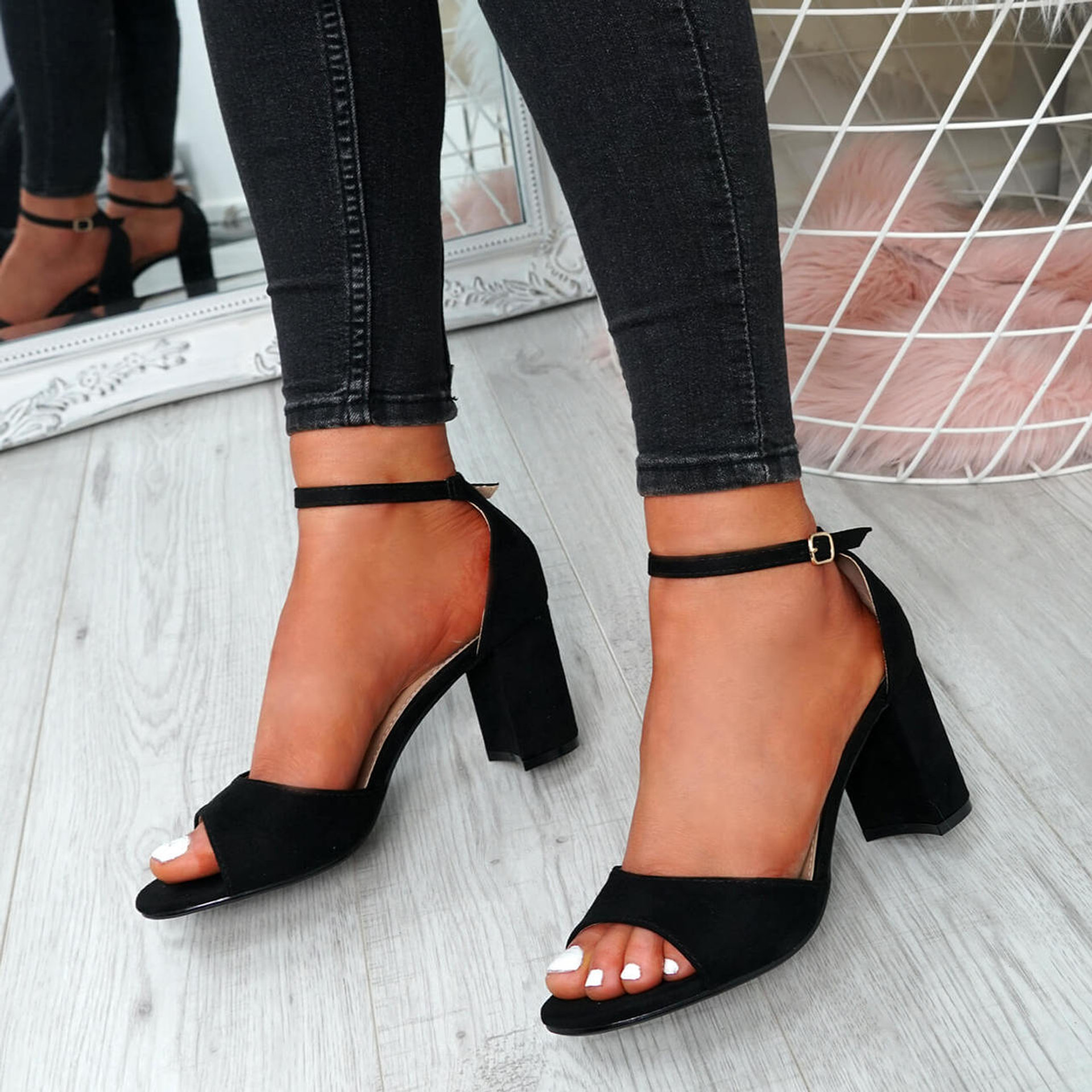 Opia Black Ankle Strap Sandals