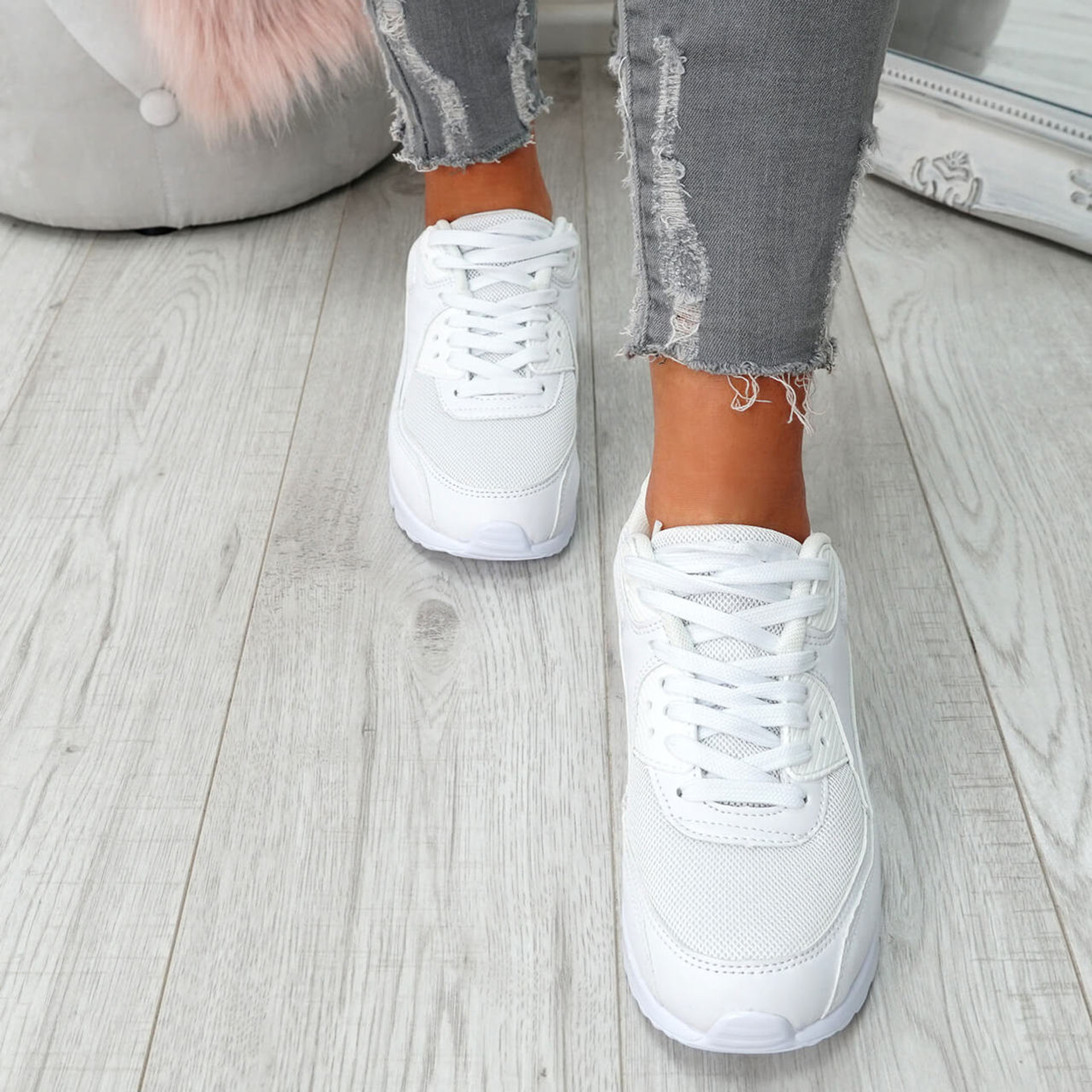 Kimsa White Lace Up Trainers