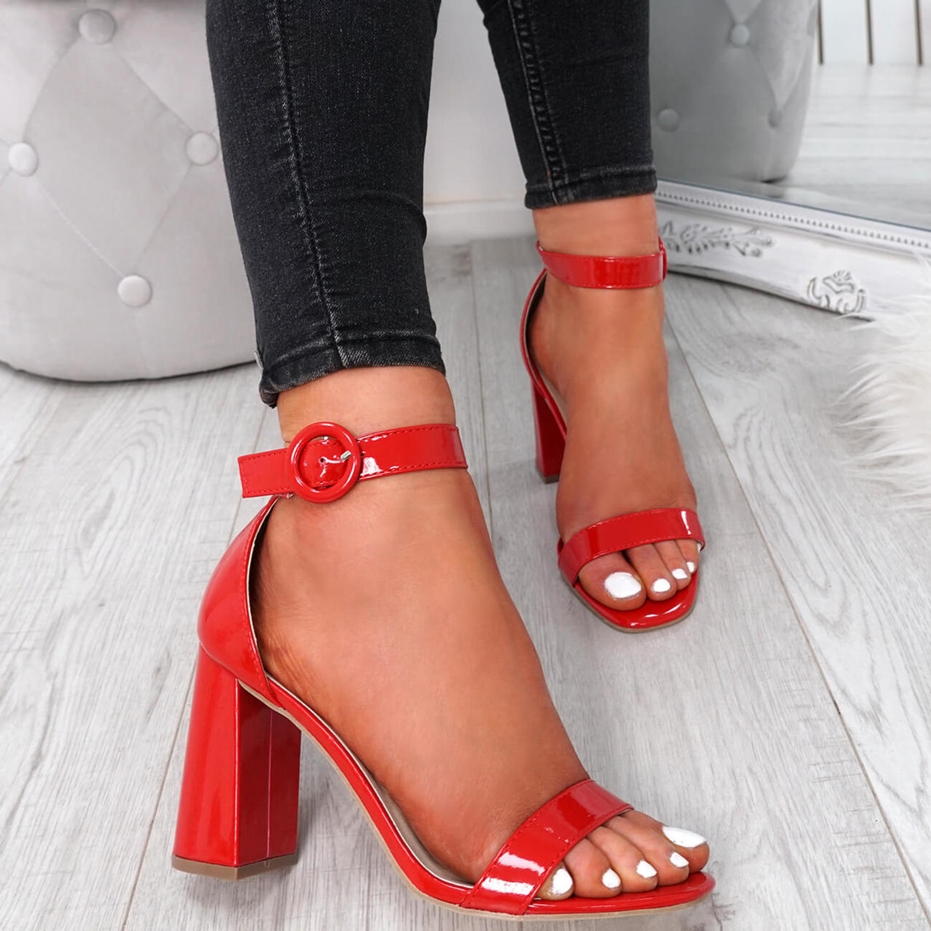 Yelum Red Ankle Strap Sandals