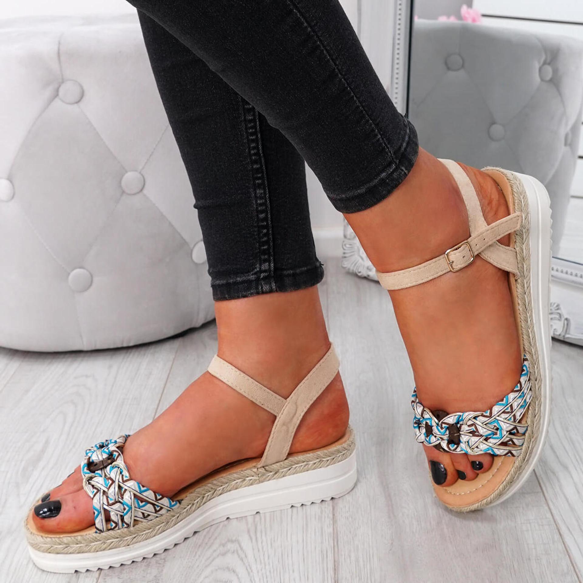 Mysta Beige Flat Sandals