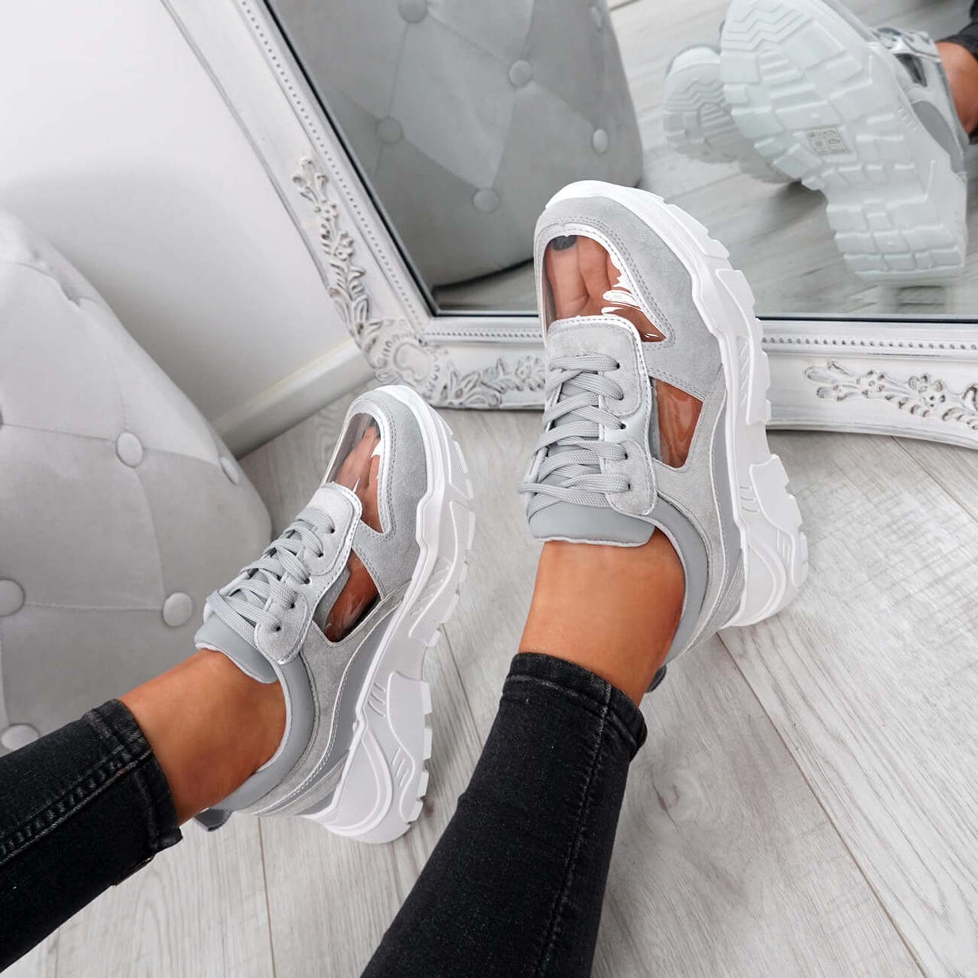Boppa Grey Transparent Trainers