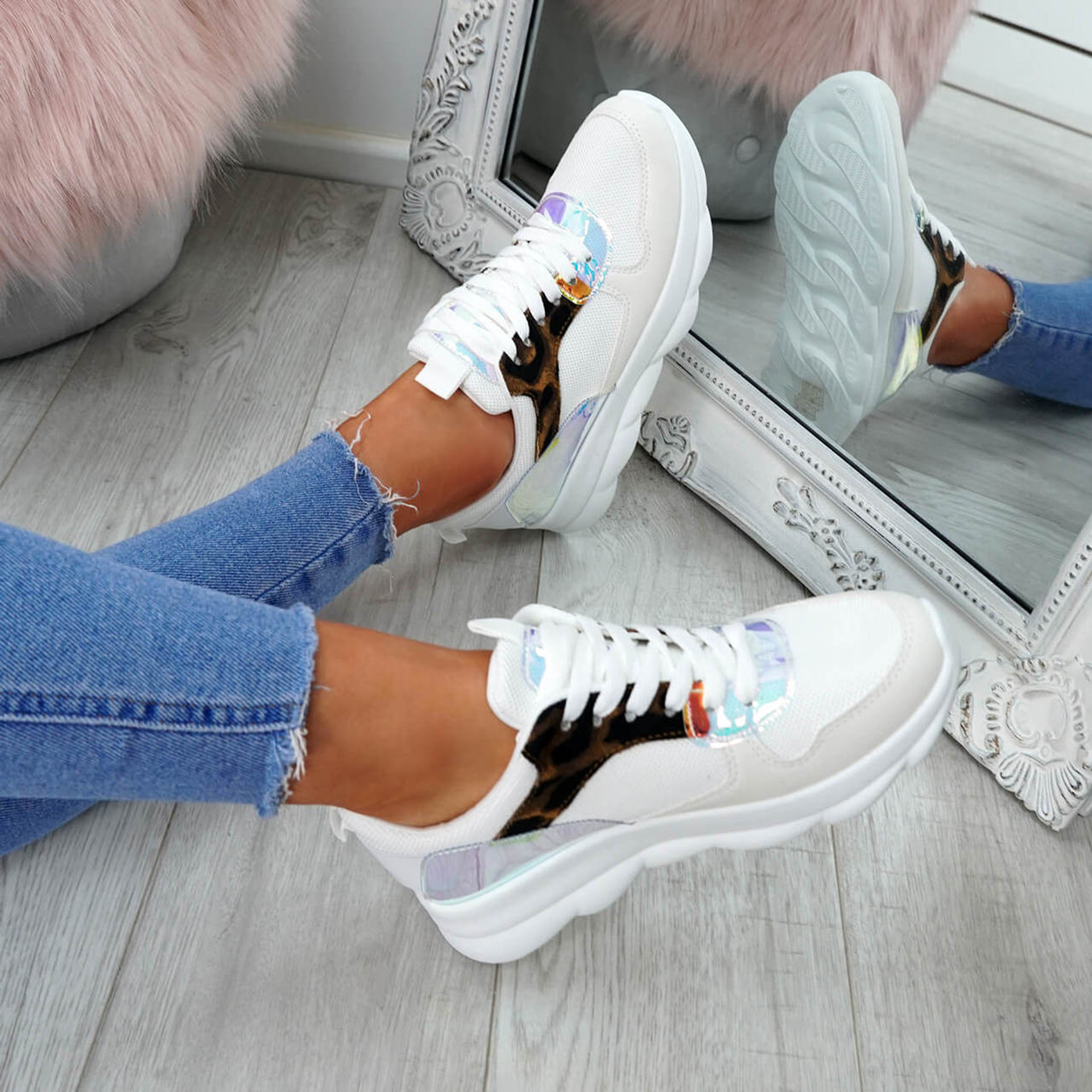 Ziffy Leopard Lace Up Trainers
