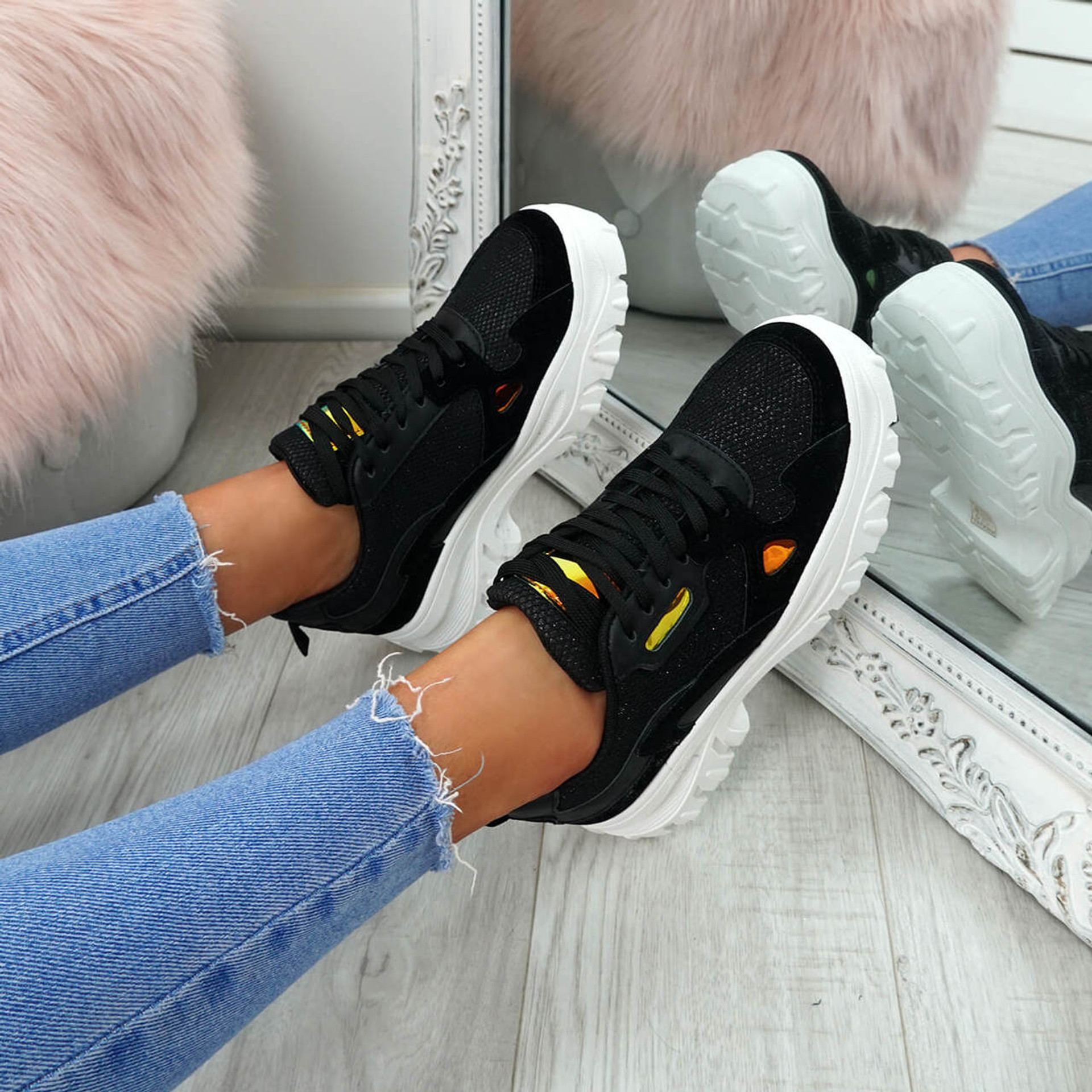 womens black lace-up chunky trainers sneakers size uk 3 4 5 6 7 8