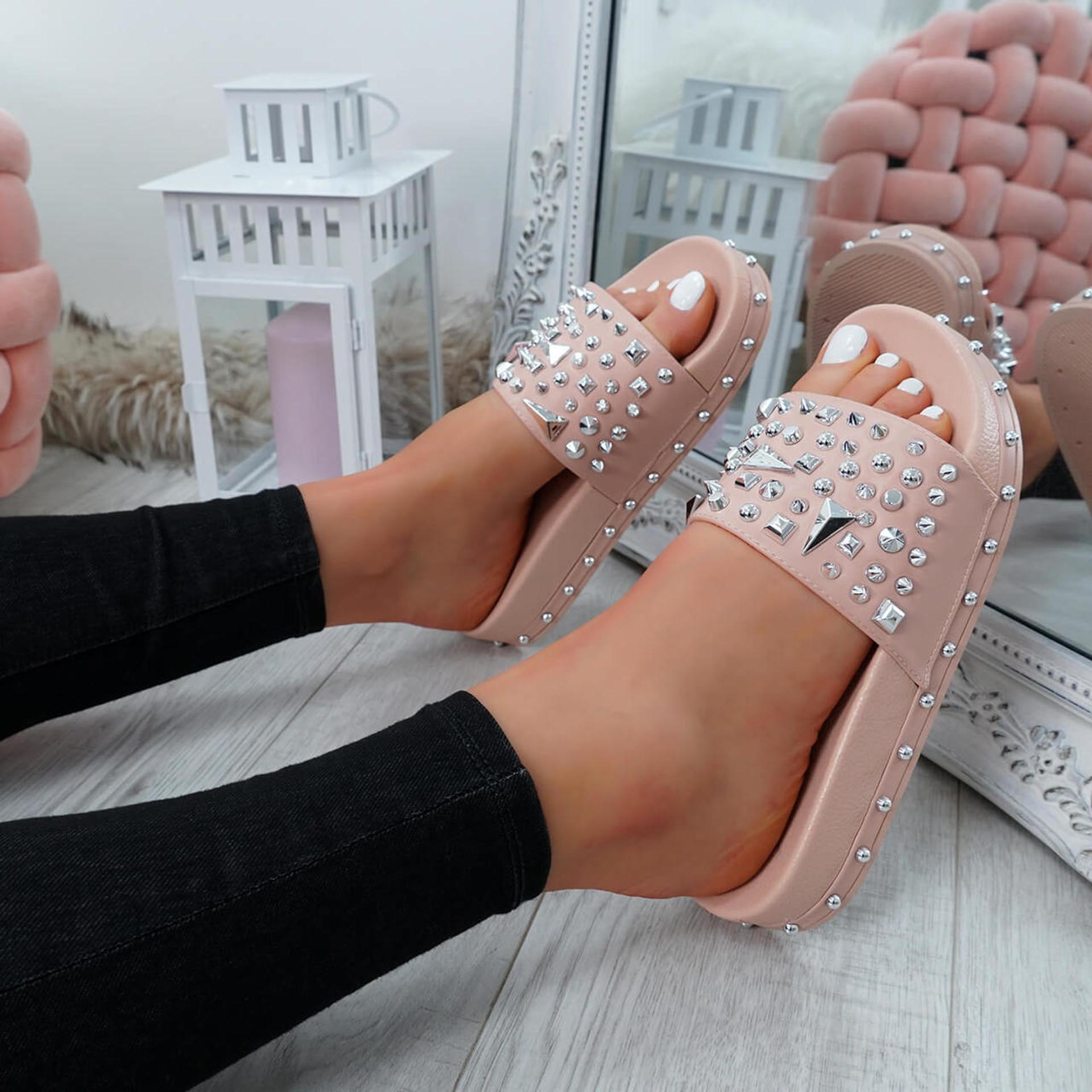 Okna Pink Rock Stud Flat Sandals